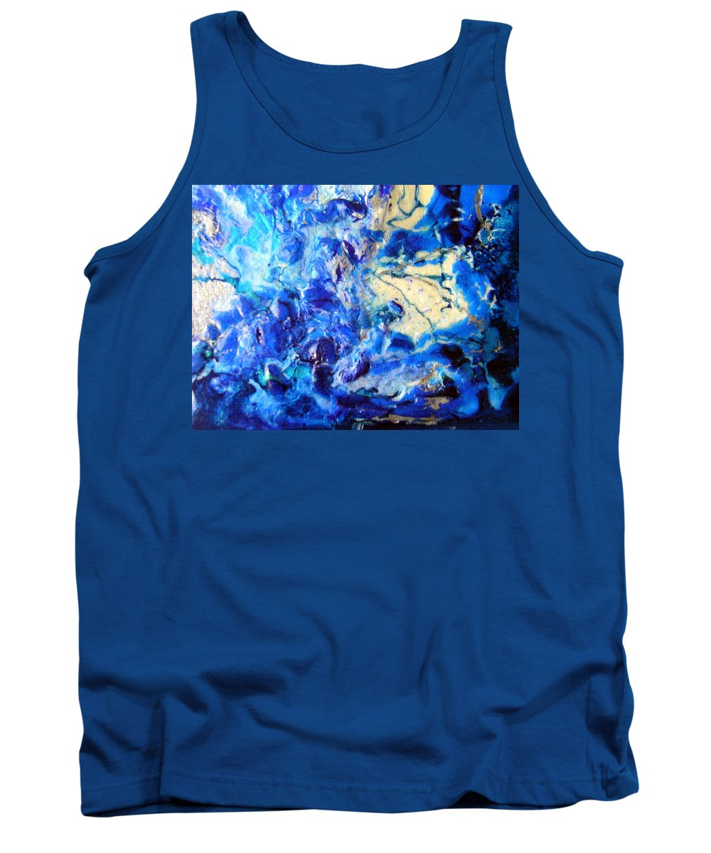 Tides Tank Top featuring the painting Stellar Blue Tides by Dawn Hough Sebaugh