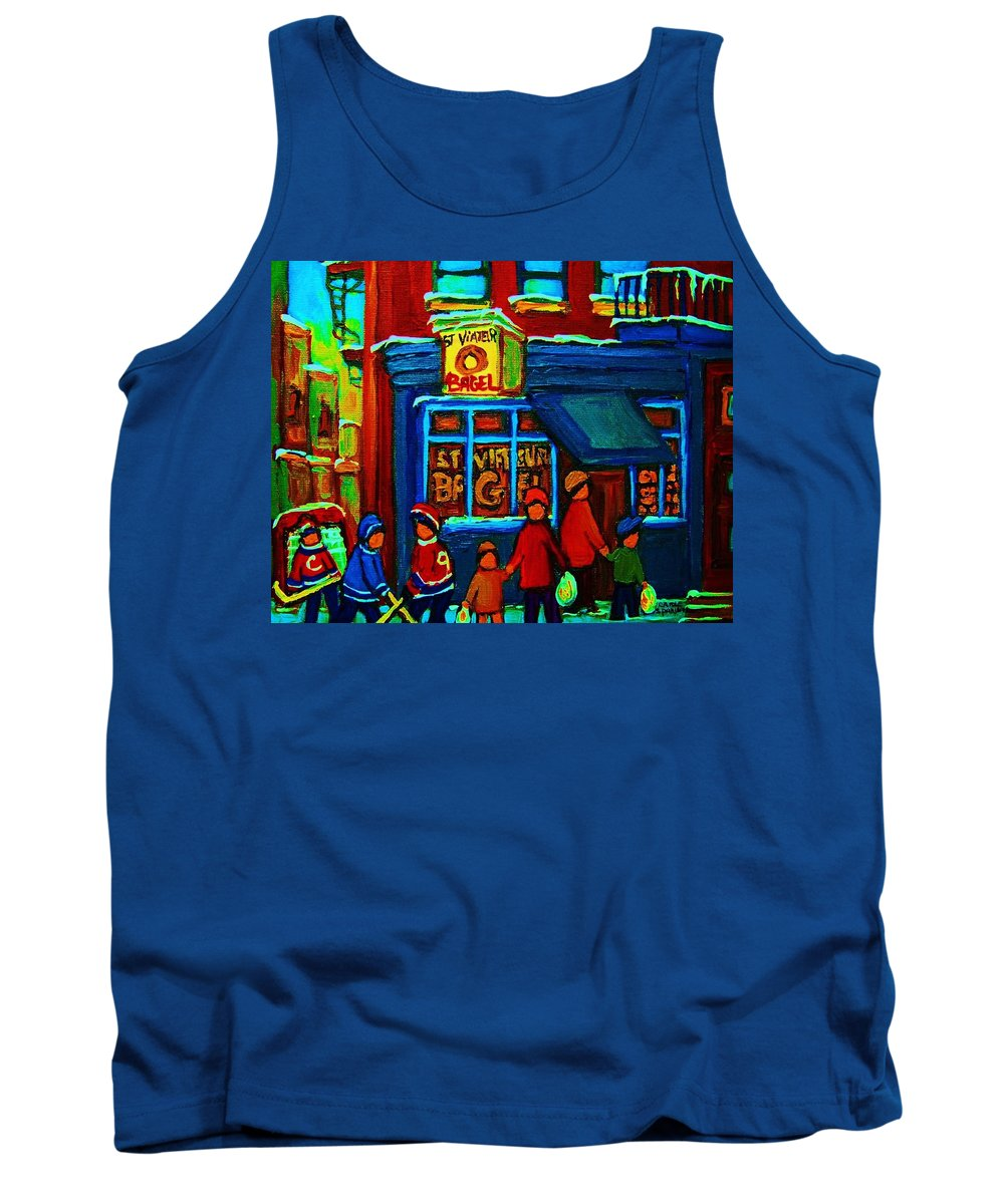 Montreal Bagelshop Tank Top featuring the painting St.viateur Bagel And Hockey Kids by Carole Spandau