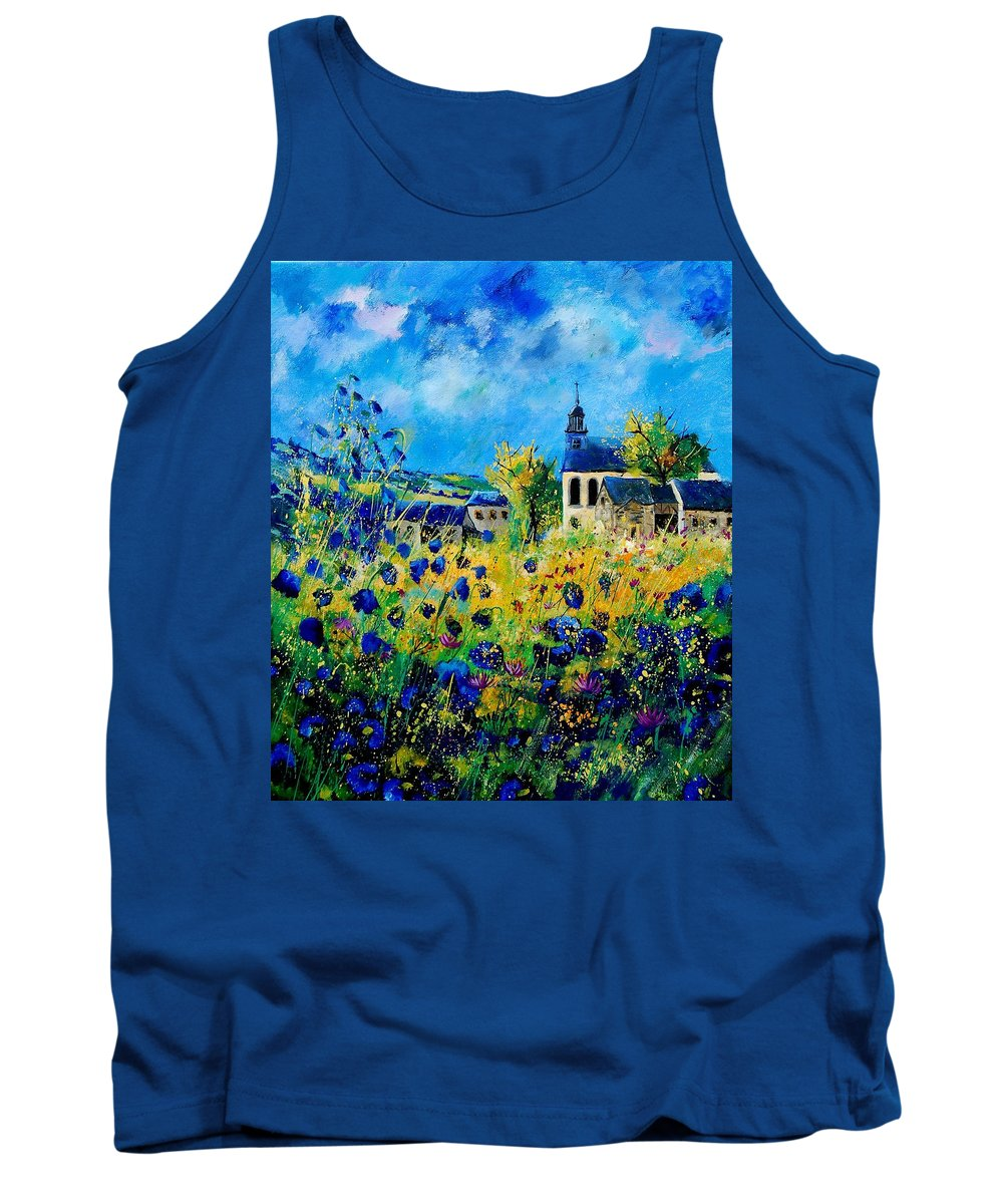Poppies Tank Top featuring the painting Summer In Foy Notre Dame by Pol Ledent