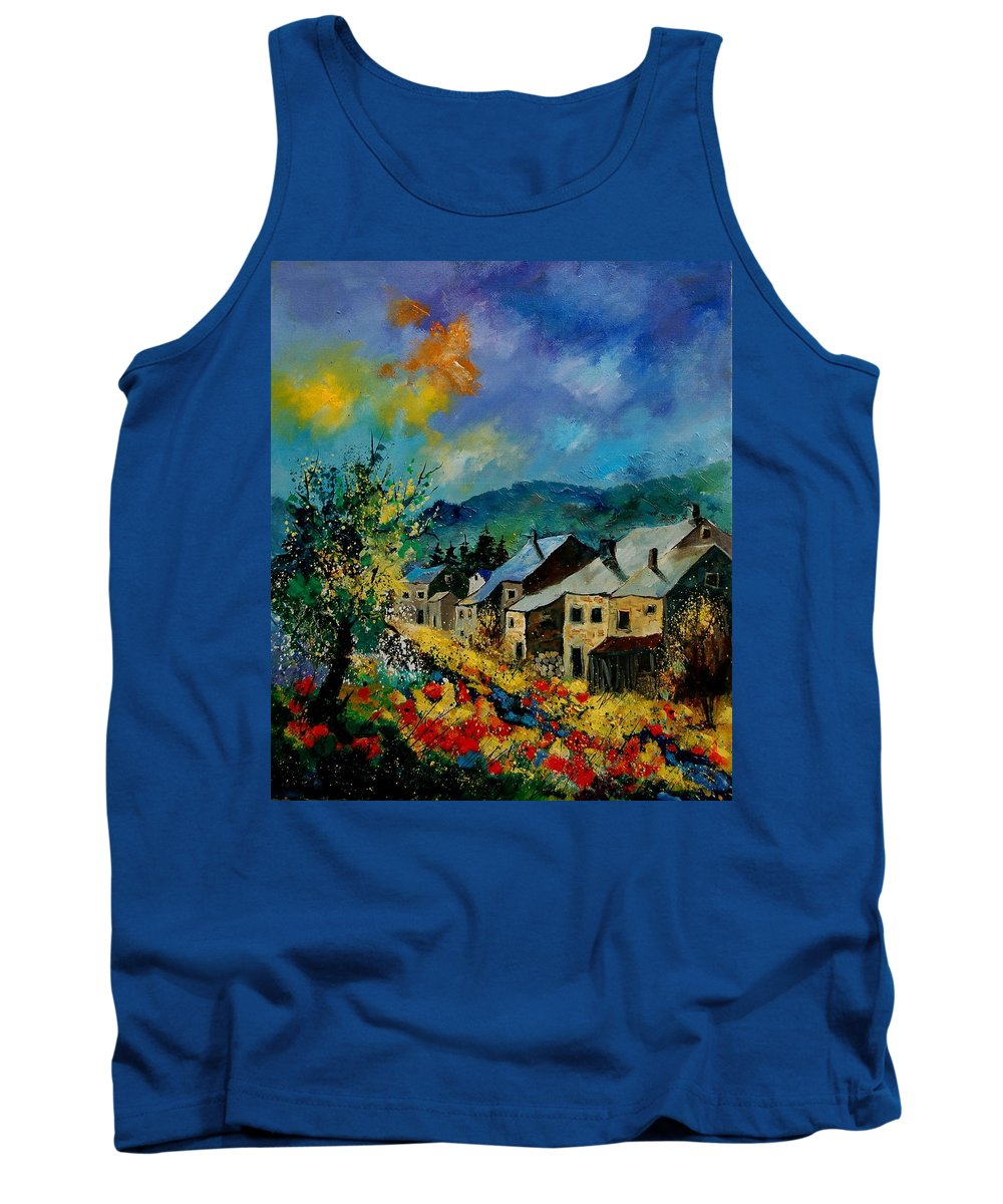 Poppies Tank Top featuring the painting Summer In Mogimont by Pol Ledent