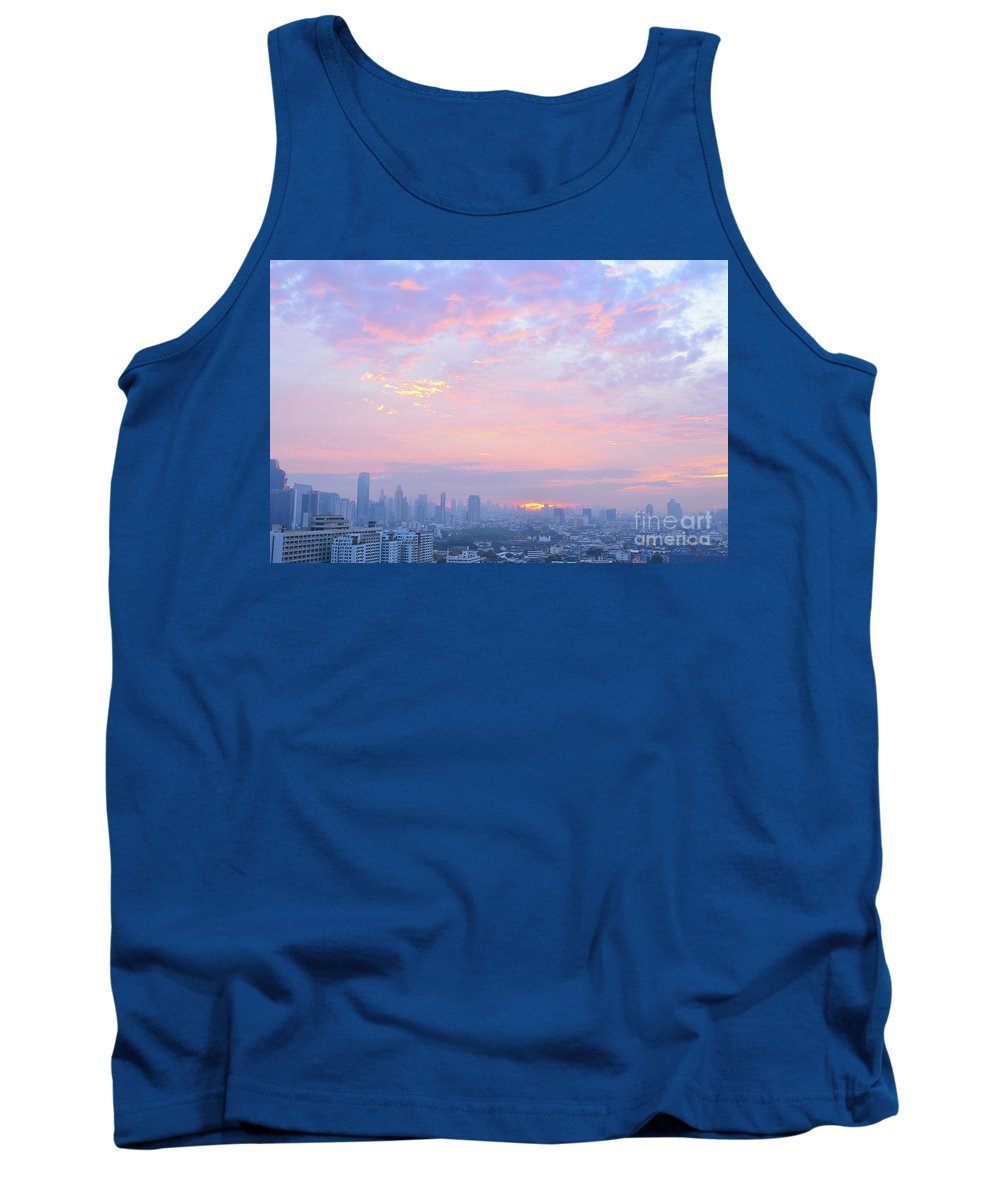 Sunrise Tank Top featuring the photograph Sunrise Over Bangkok by Yinguo Huang