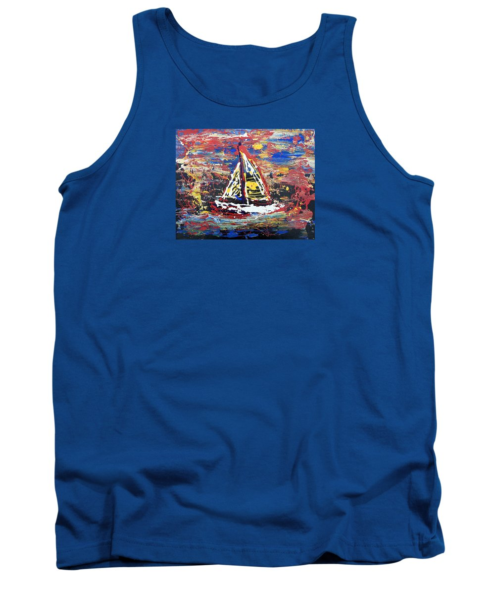 Abstract Art Tank Top featuring the painting Sunset On The Lake by J R Seymour