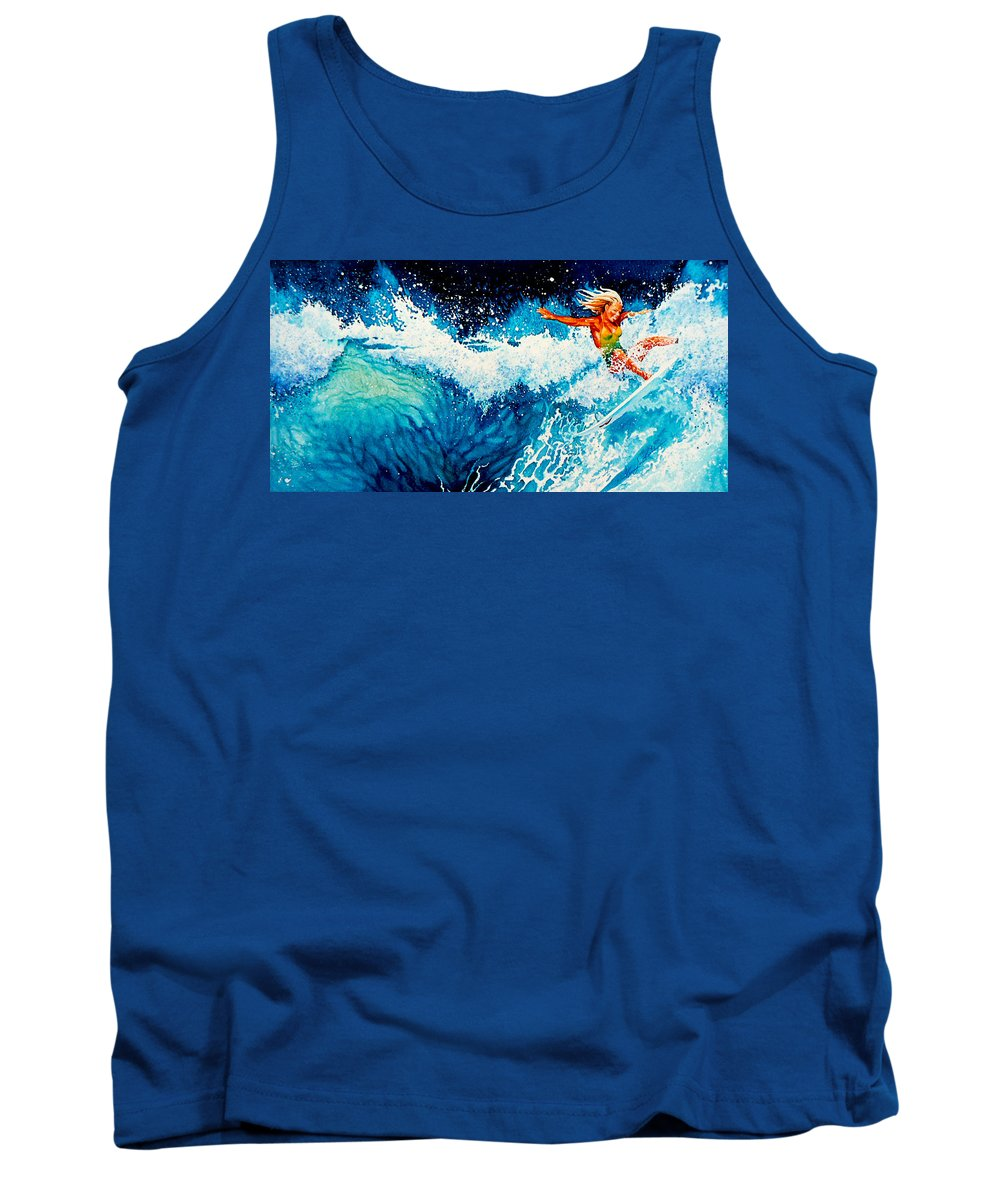 Sports Art Tank Top featuring the painting Surfer Girl by Hanne Lore Koehler
