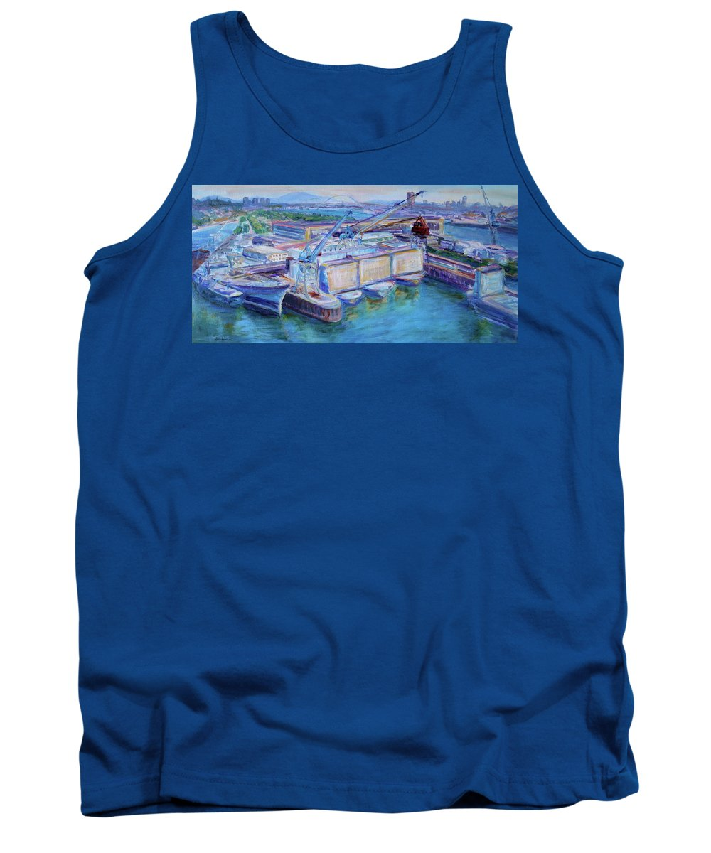Shipping Tank Top featuring the painting Swan Island Poetry - Large Original Contempory Impressionist Painting by Quin Sweetman