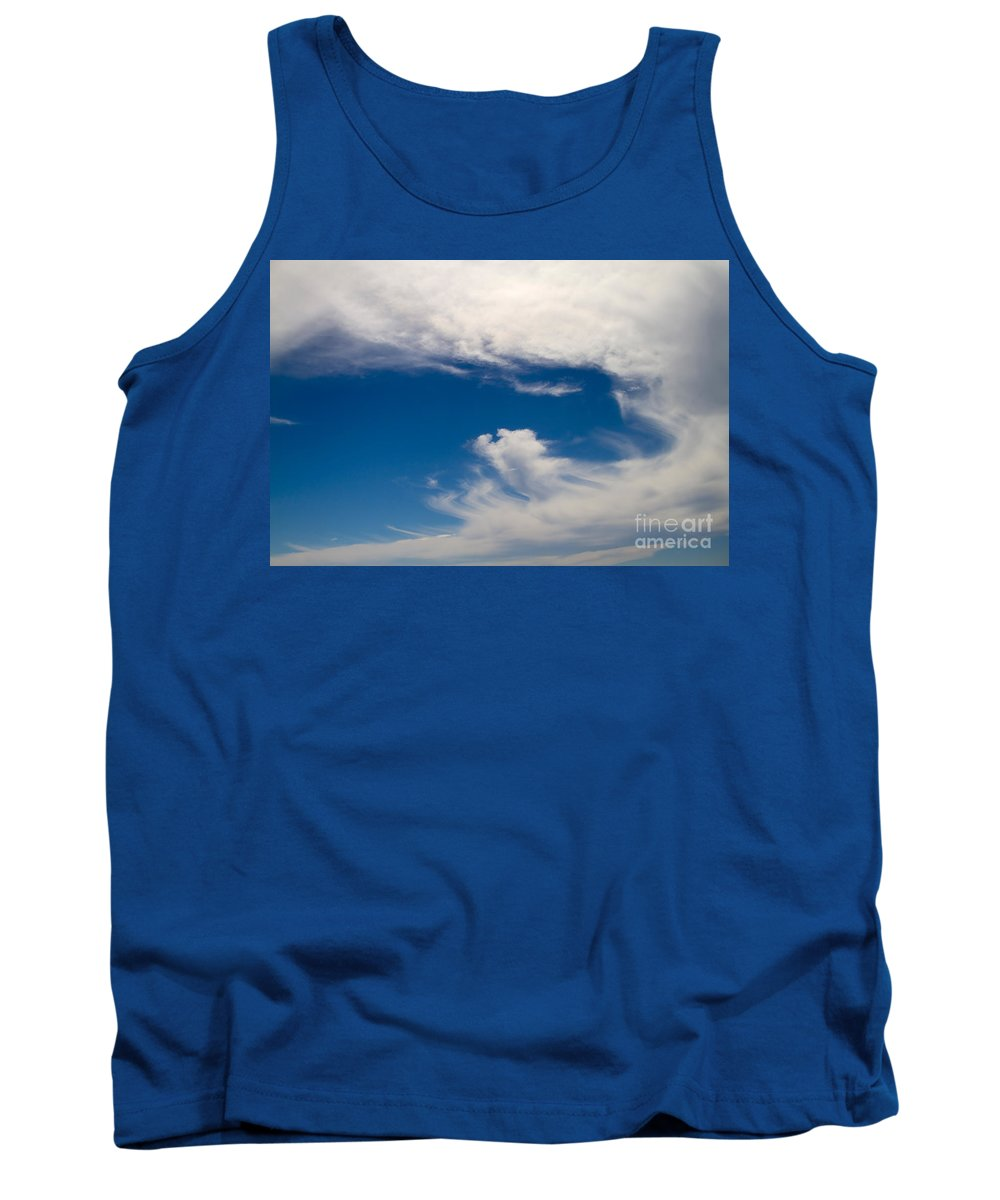 Nature Tank Top featuring the photograph Swirl Of Clouds In A Blue Sky by Louise Heusinkveld