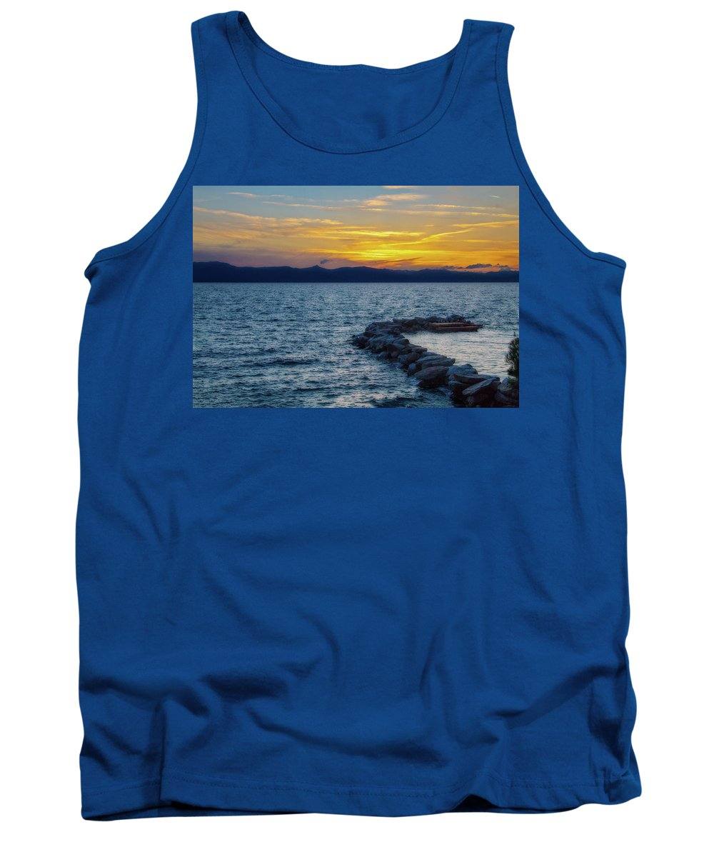 Photography Tank Top featuring the digital art Tahoe Sunset by Terry Davis