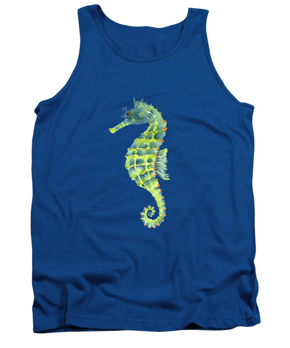 Seahorse Painting Tank Top featuring the painting Teal Green Seahorse - Square by Amy Kirkpatrick