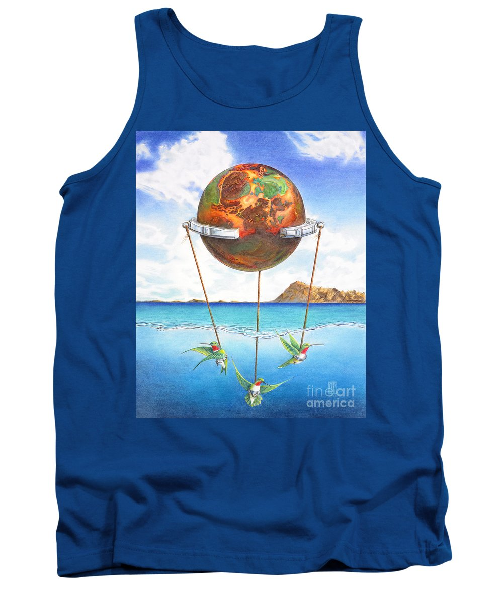 Surreal Tank Top featuring the painting Tethered Sphere by Melissa A Benson