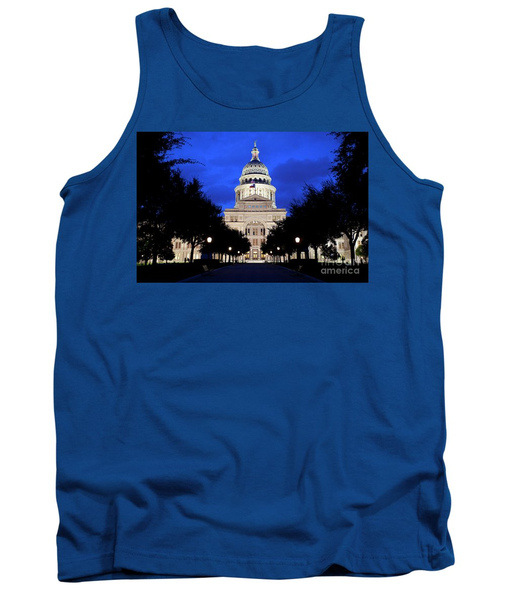 Texas State Capitol Tank Top featuring the photograph Texas State Capitol Floodlit At Night, Austin, Texas - Stock Image by Austin Welcome Center