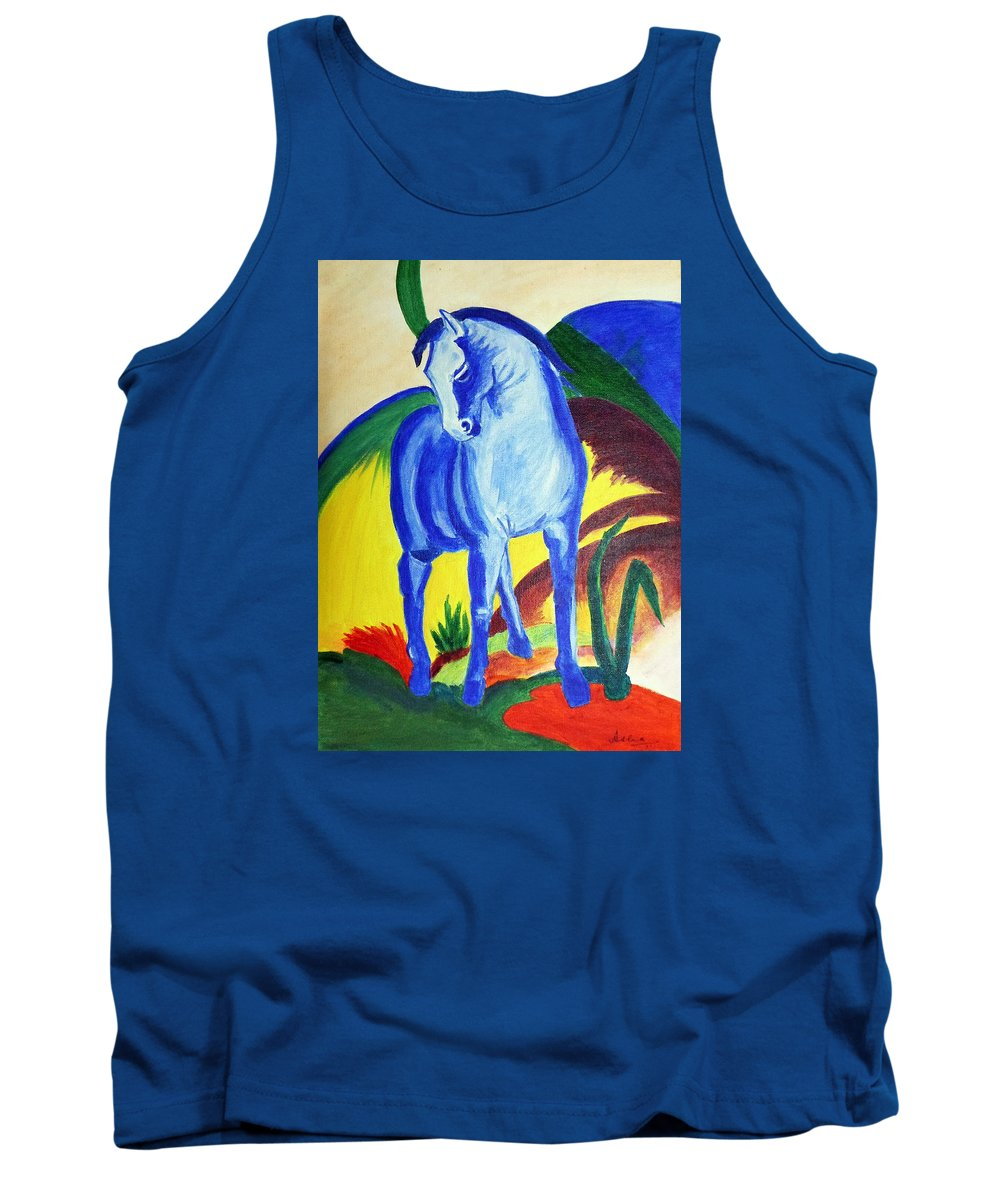 Horse Tank Top featuring the painting The Blue Horse Franc Marz by Asha Sudhaker Shenoy