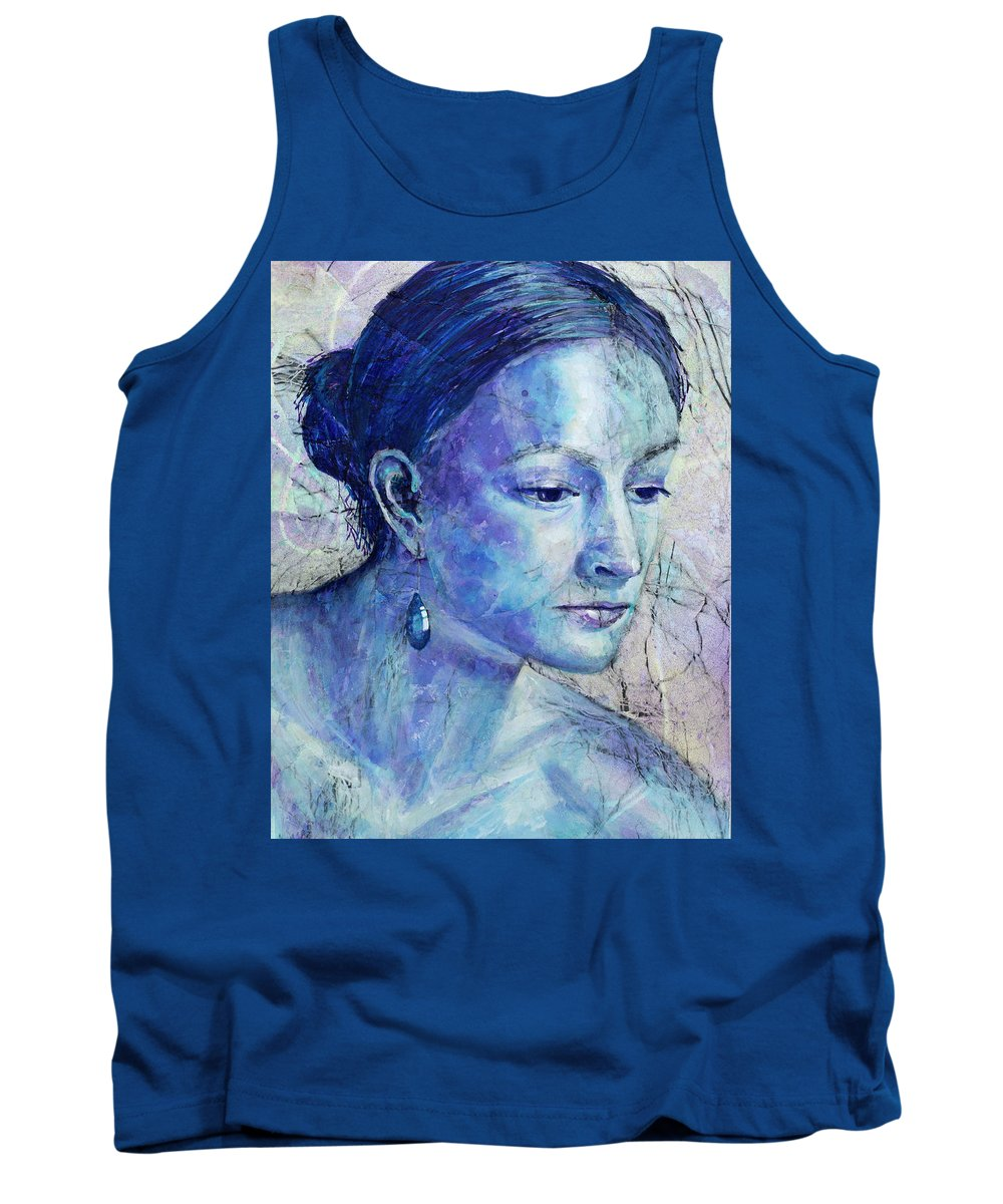 Portraits Tank Top featuring the painting The Blue Jewel by Nancy Smith