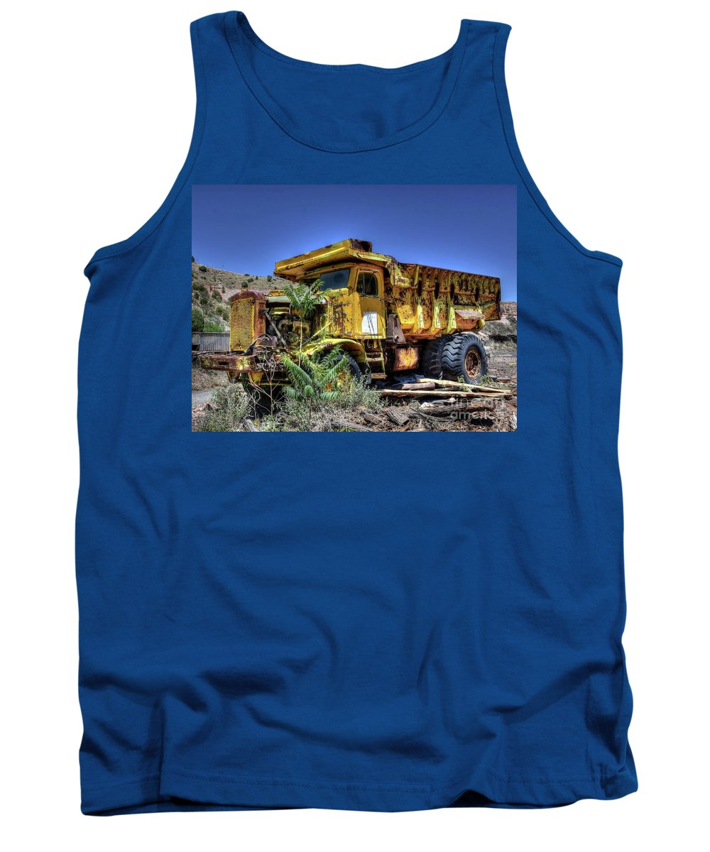 Steel Tough Strong Heavy Powerful Caterpillar Dump Truck Dependable Nature Hills Desert Weeds Wood Landscape Outdoors Hdr Tank Top featuring the photograph The Boss by Thomas Todd