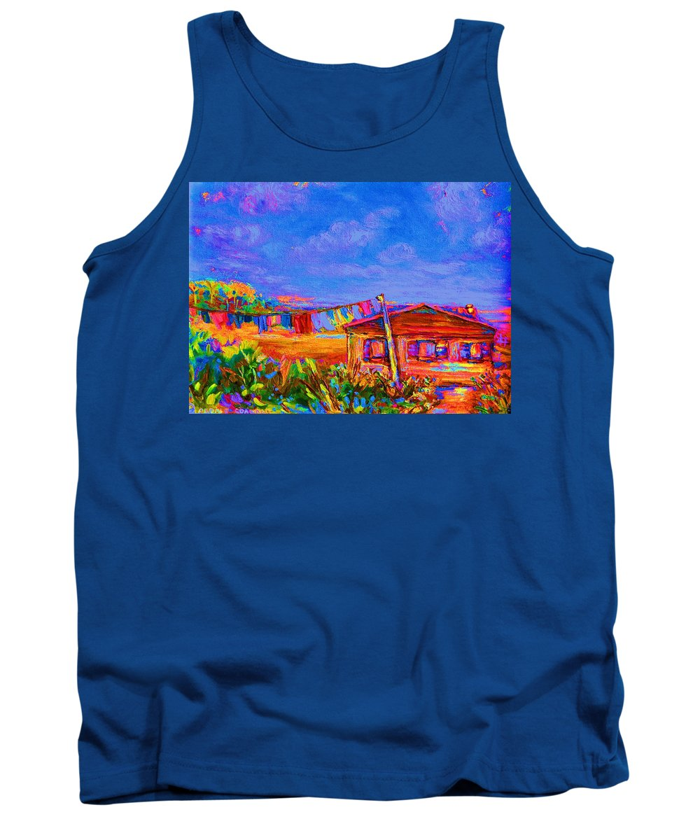 Clothesline Scenes Tank Top featuring the painting The Clothesline by Carole Spandau