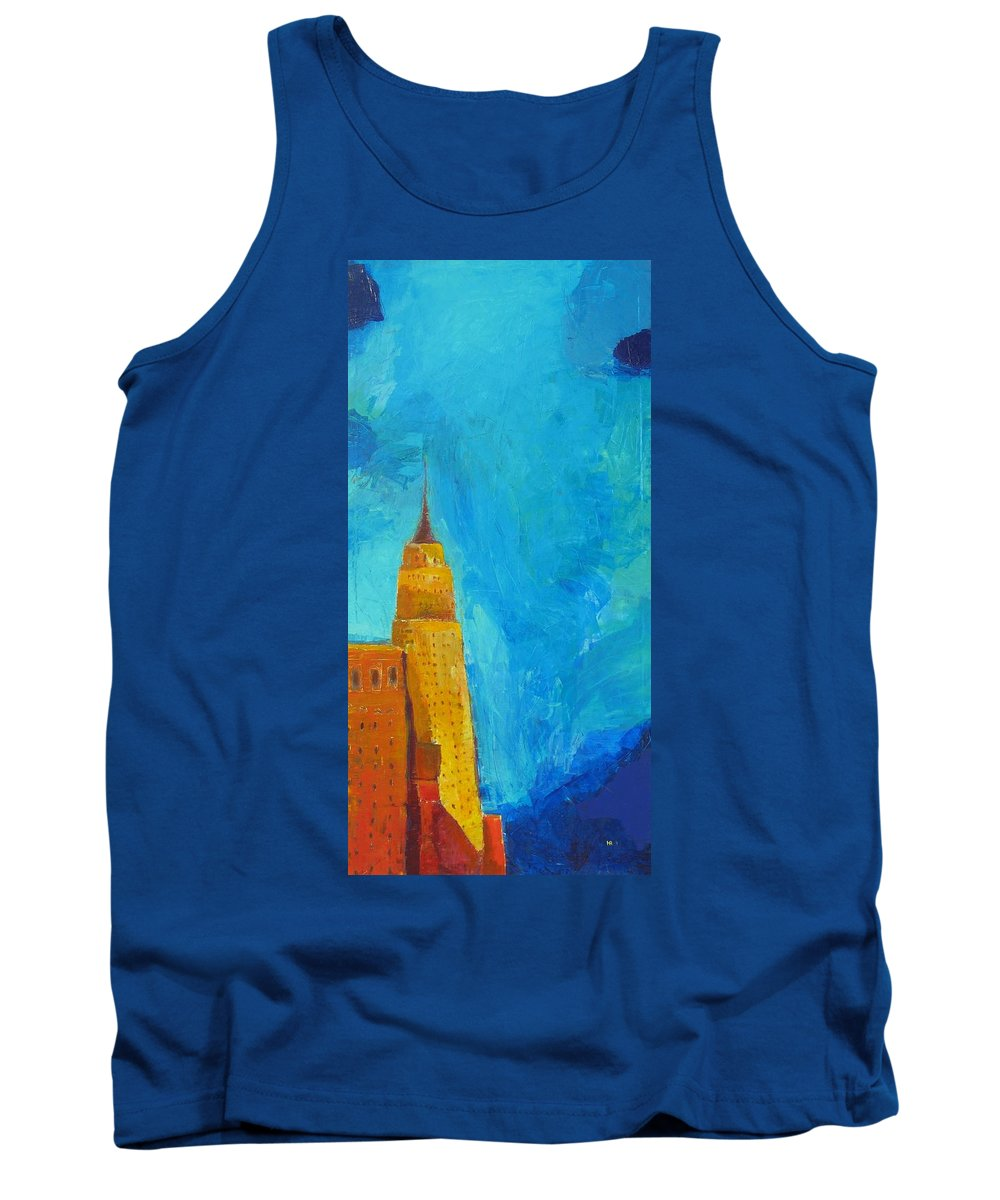 Abstract Cityscape Tank Top featuring the painting The Empire State by Habib Ayat