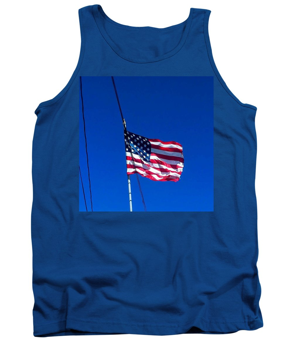 Sky Tank Top featuring the photograph The Flag Of Usa by ONDRIA-UNIqU3-Pics- Admin