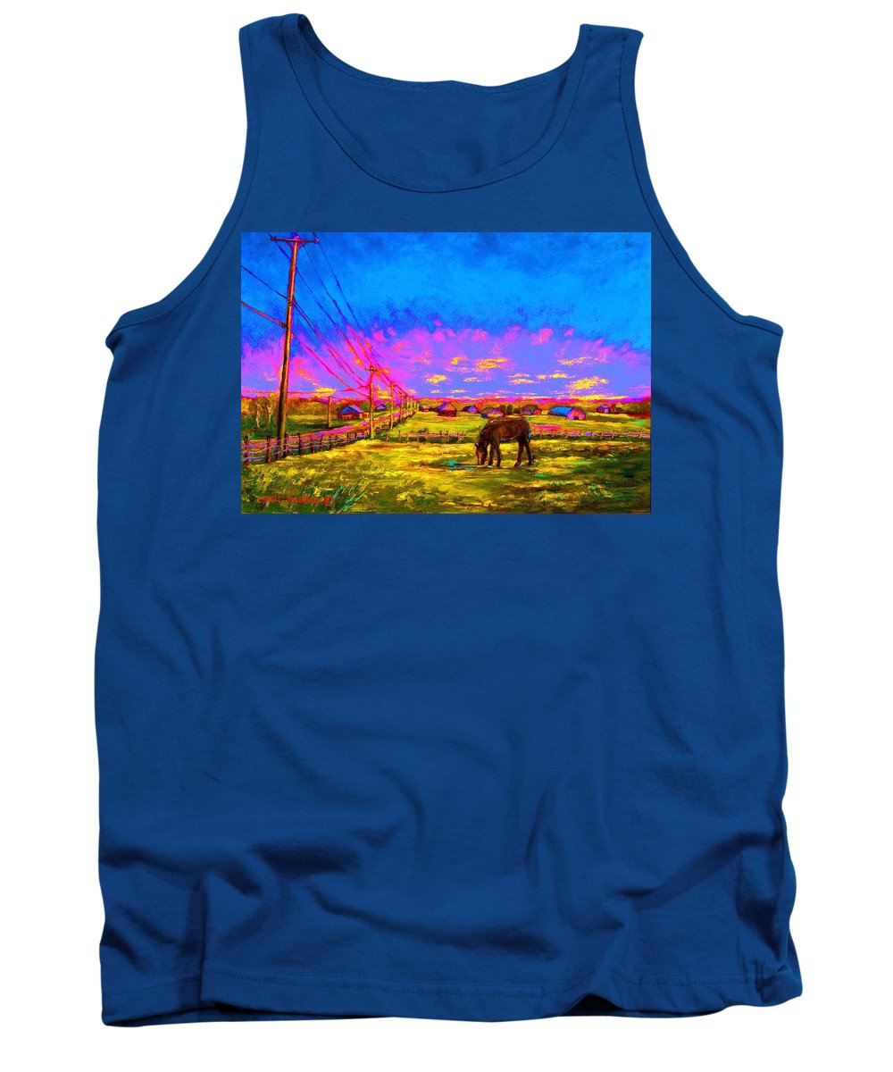 Western Art Tank Top featuring the painting The Golden Meadow by Carole Spandau