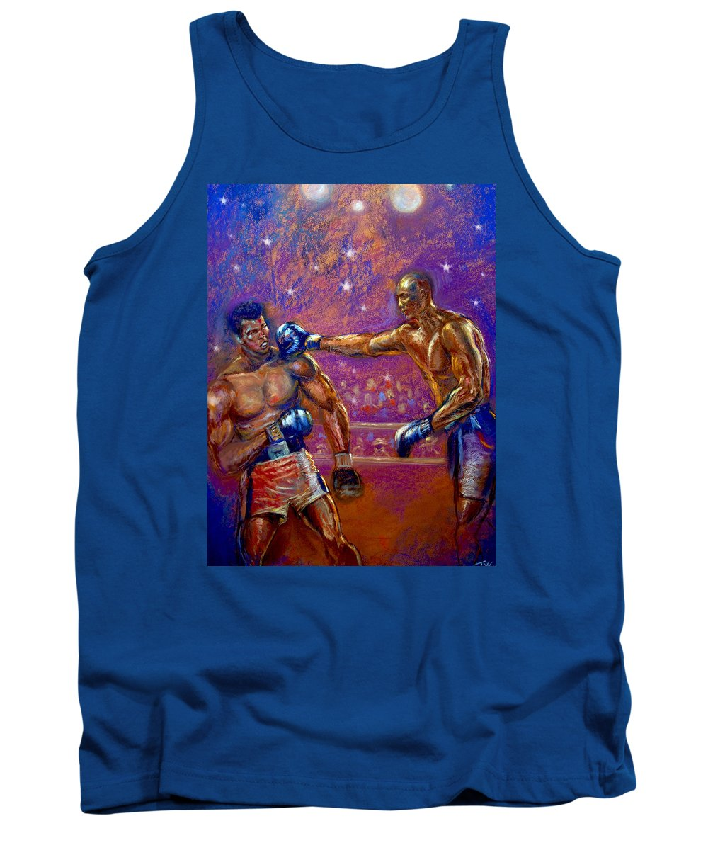Boxing Tank Top featuring the pastel the Greatest Muhammed Ali vs Jack Johnson by Tommy Winn