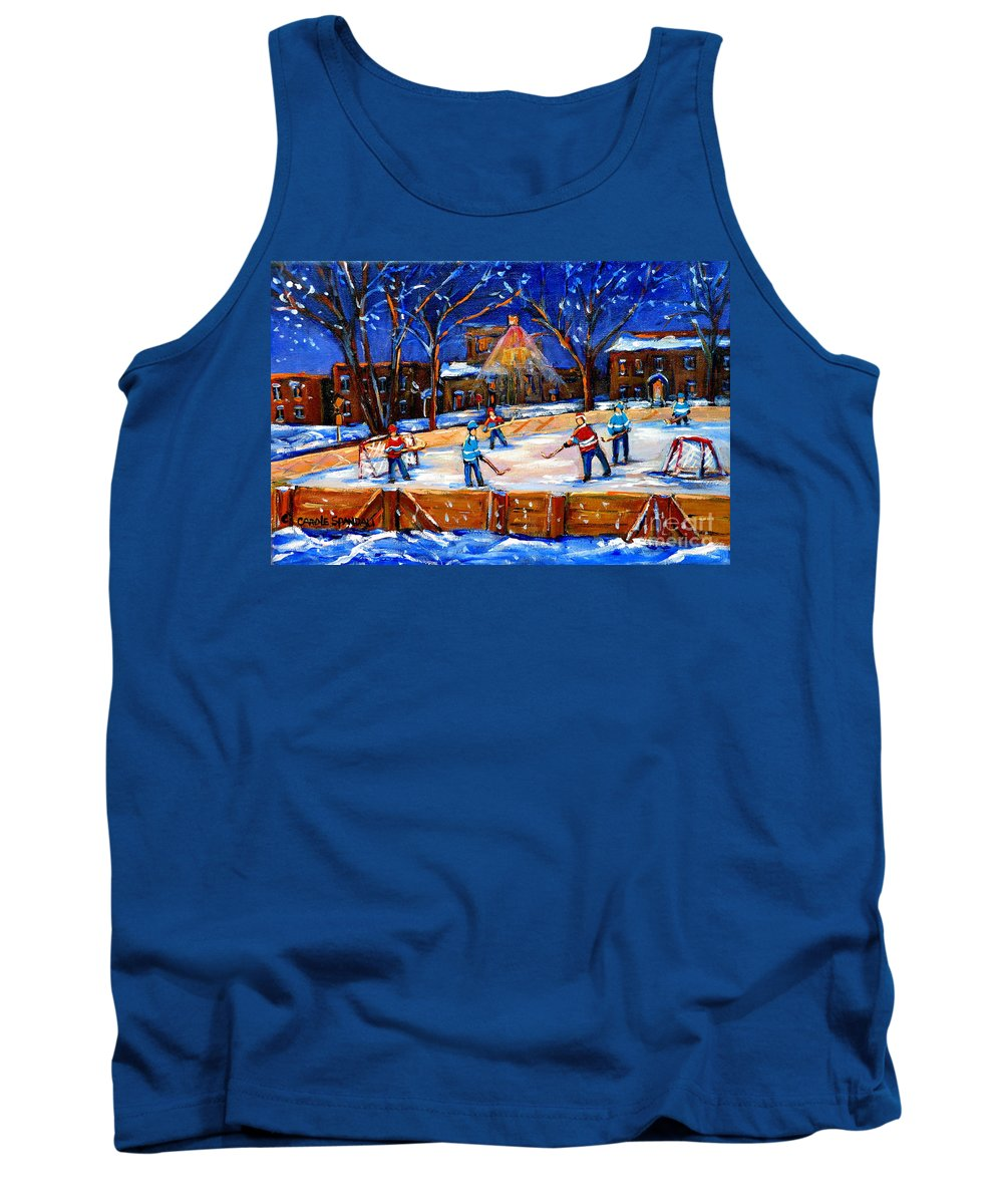 Montreal Tank Top featuring the painting The Neighborhood Hockey Rink by Carole Spandau