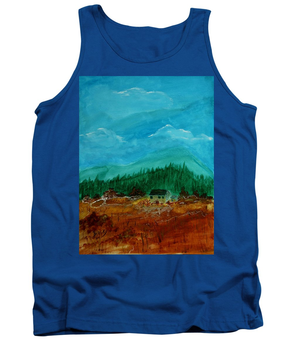 Watercolor Tank Top featuring the painting The Old Homestead by Donna Blackhall