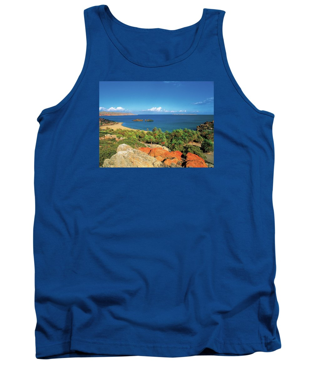 Palm Forest Tank Top featuring the photograph The Palm Forest Of Vai - Crete by Manolis Tsantakis