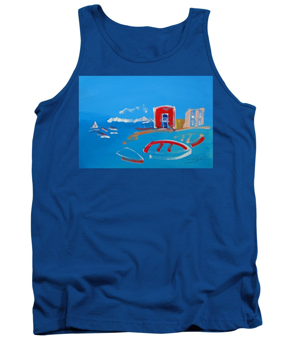 Puerto Tank Top featuring the painting The Red House La Casa Roja by Charles Stuart