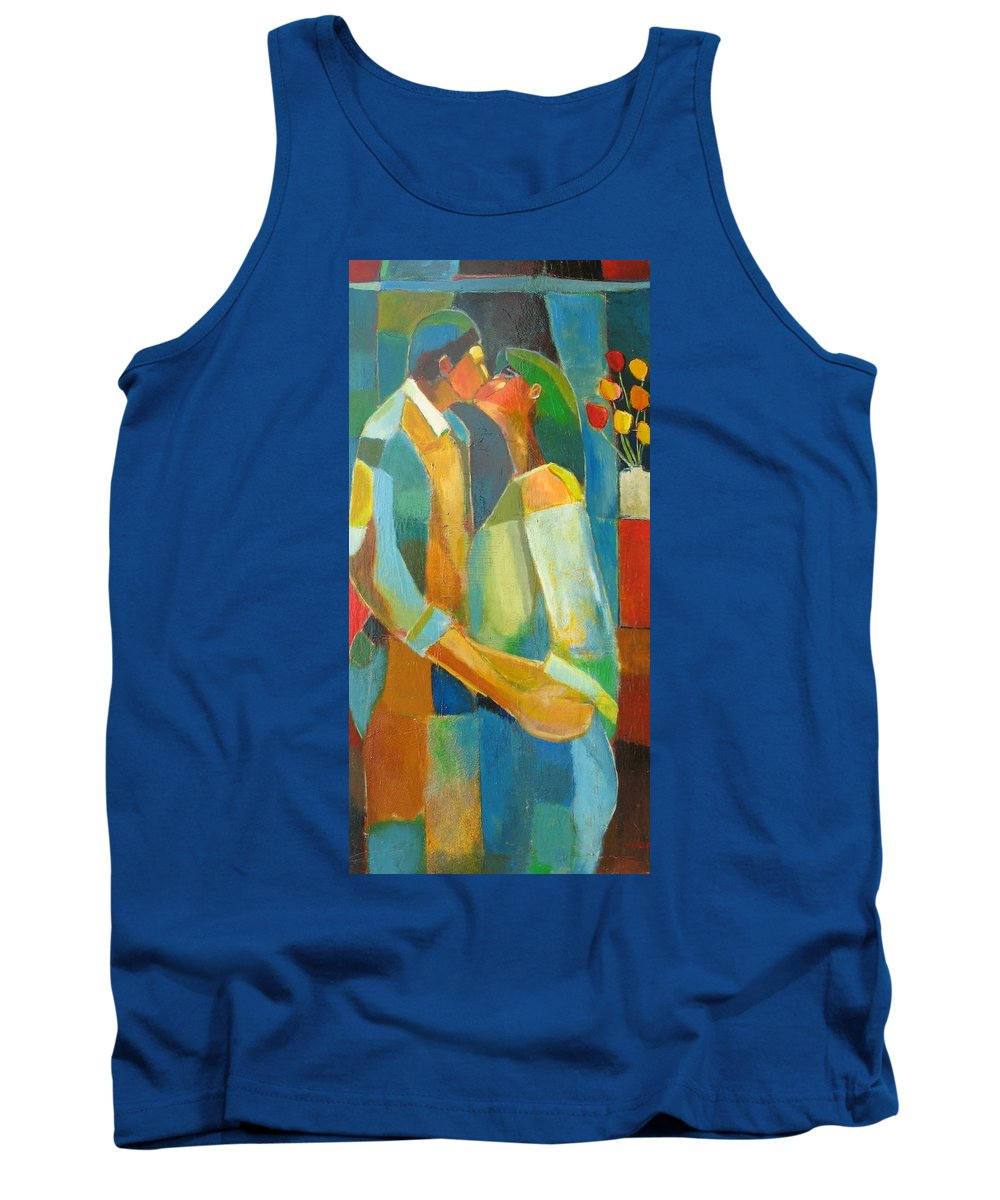 Love Abstract Tank Top featuring the painting The Sweet Kiss by Habib Ayat
