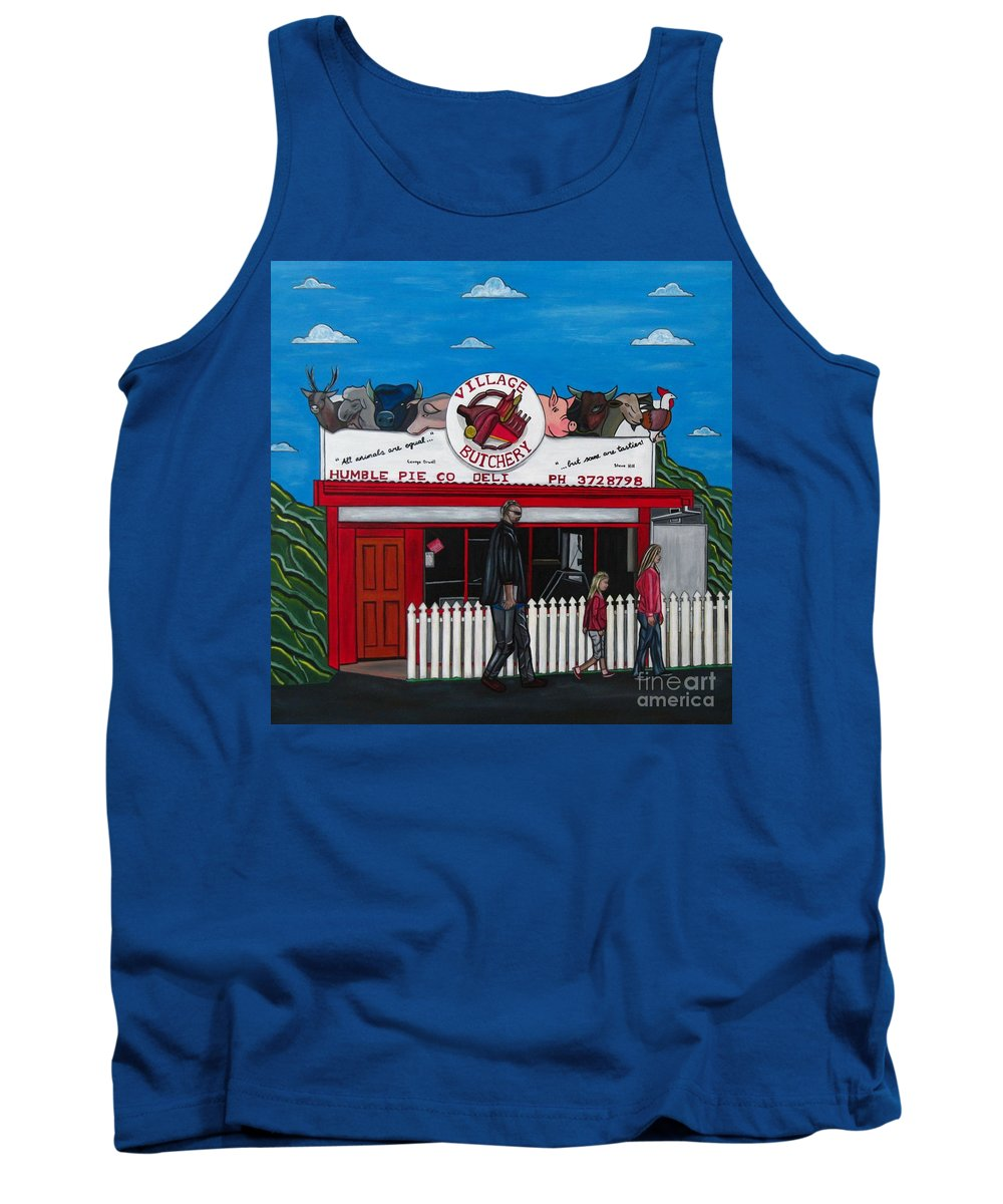 Buildings Tank Top featuring the painting The Village by Sandra Marie Adams