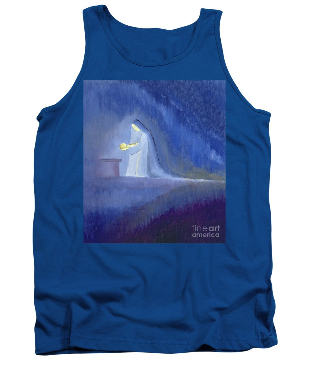 Christ; Love; Nativity; Madonna; Kneeling; Manger; Christmas; Infant; Mother; Baby; Motherhood; Catholic; Catholicism; Caring; Love; Tenderness; Loving; Holding Tank Top featuring the painting The Virgin Mary Cared For Her Child Jesus With Simplicity And Joy by Elizabeth Wang
