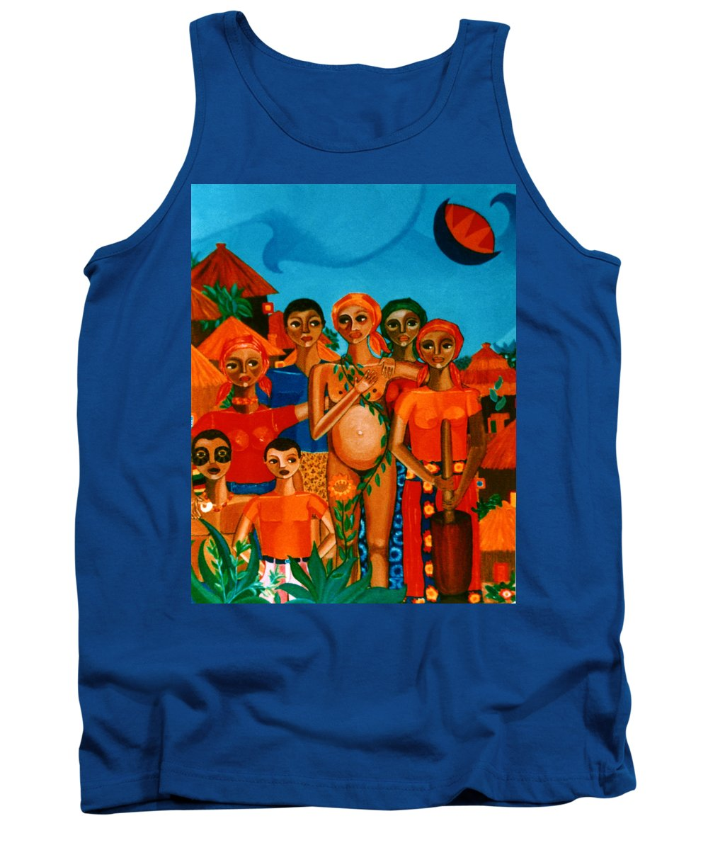 Pregnant Women Tank Top featuring the painting There Are Always Sunflowers For Those Waiting A New Life by Madalena Lobao-Tello