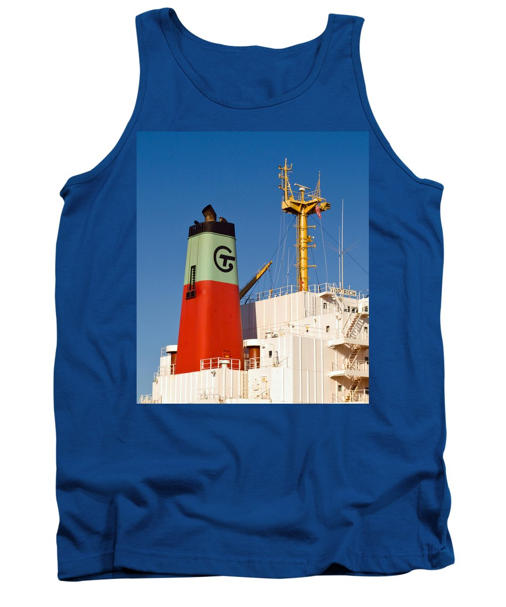 Cape; Canaveral; Port; Florida; Atlantic; Ship; Boat; Freight; Freighter; Bulk; Coal; Unloading; Loa Tank Top featuring the photograph Tramp Steamer Unloading Coal At Port Canaveral In Florida by Allan Hughes