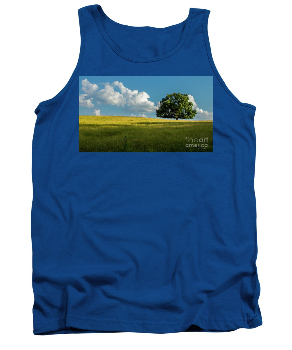 Tranquil Solitude Tank Top featuring the photograph Tranquil Solitude Billowing Clouds Oak Tree Field Art by Reid Callaway