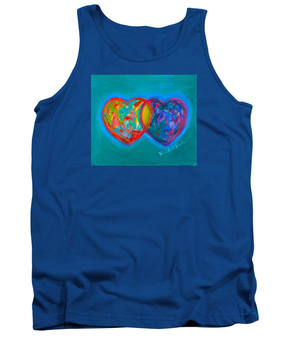 Heart Tank Top featuring the painting True Blue Hearts by Kendall Kessler