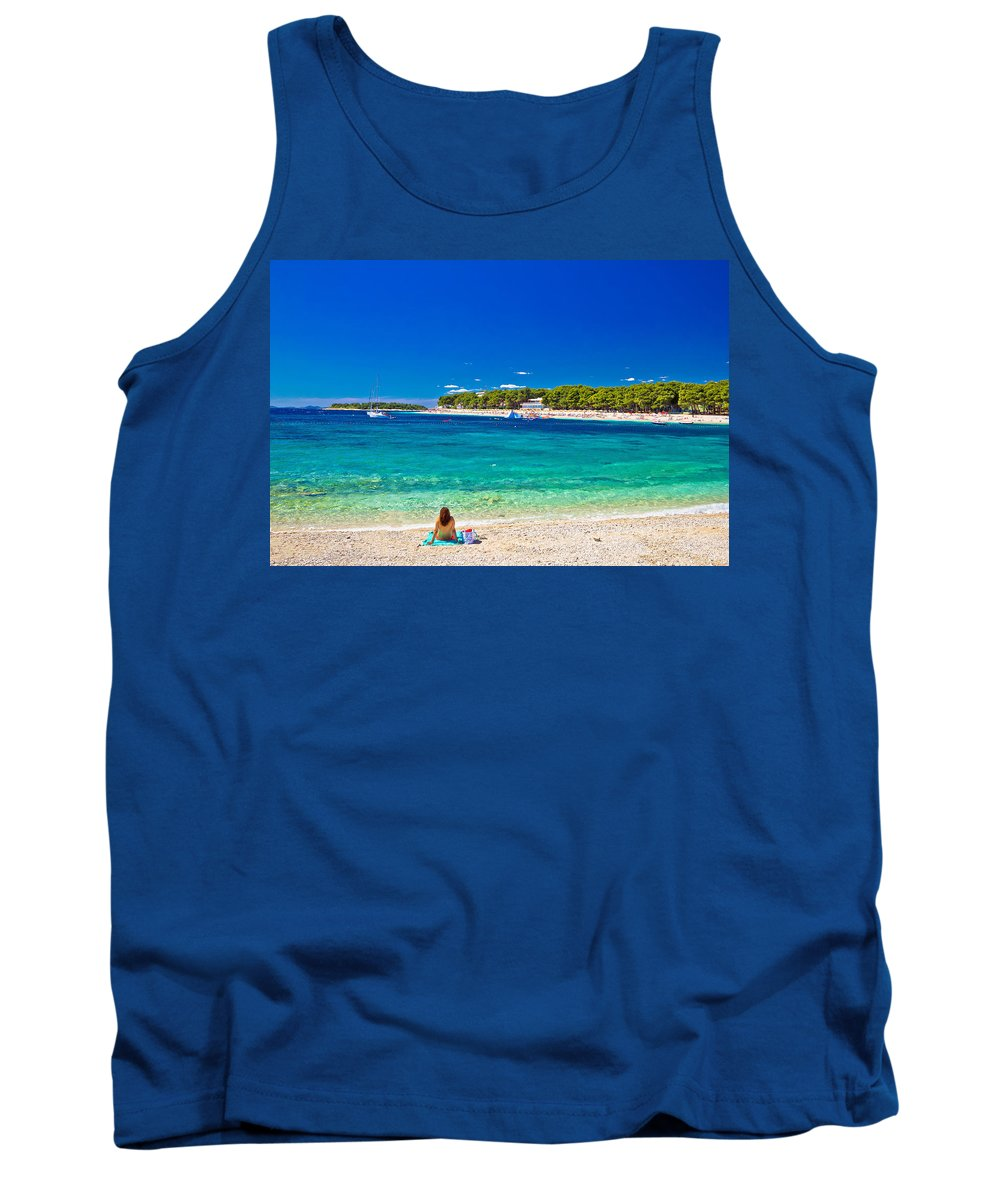 Panorama Tank Top featuring the photograph Turquoise Adriatic Beach In Primosten by Brch Photography