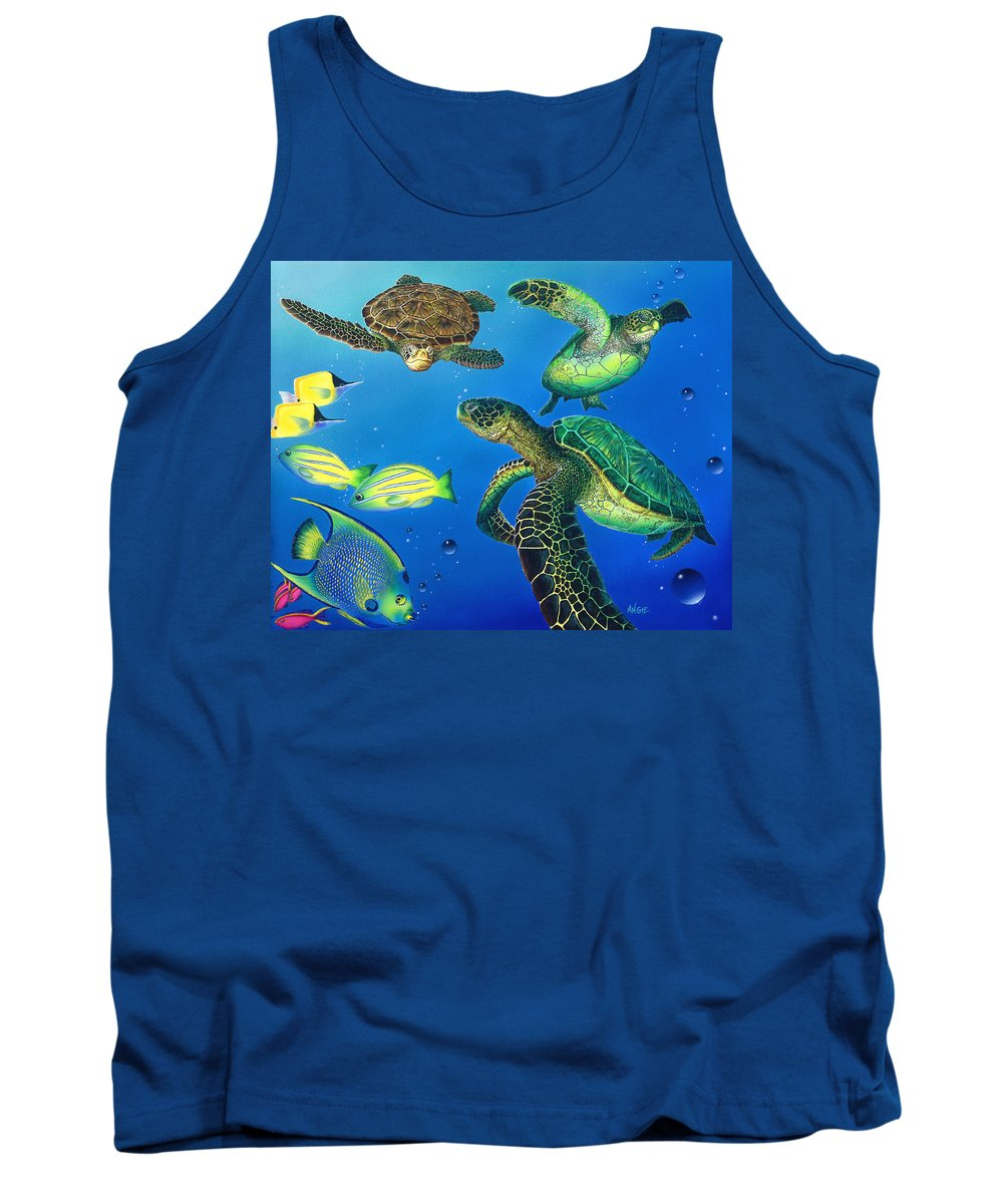 Turtle Tank Top featuring the painting Turtle Towne by Angie Hamlin
