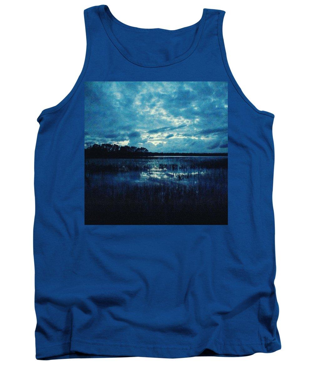 Twilight Tank Top featuring the photograph Twilight On The Lake by Ishtar Stillmank