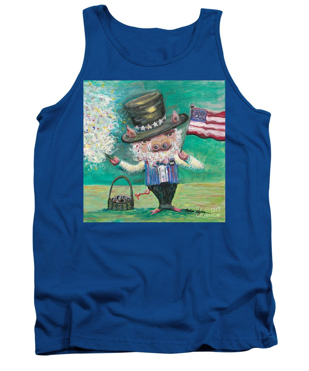 Fourth Of July Tank Top featuring the painting Uncle Spam by Nadine Rippelmeyer