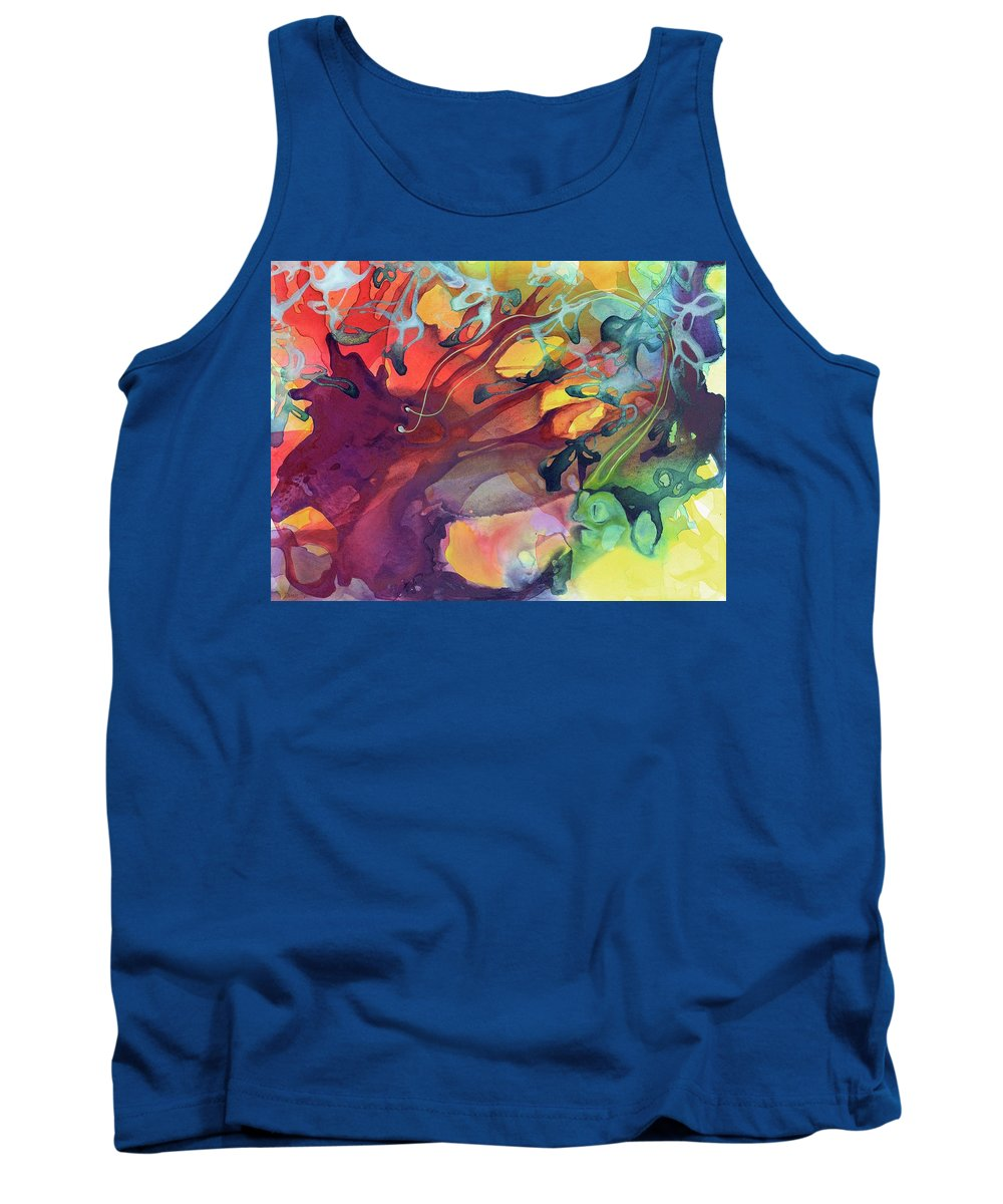 Abstract Tank Top featuring the painting Uncontrolled by Darcy Lee Saxton