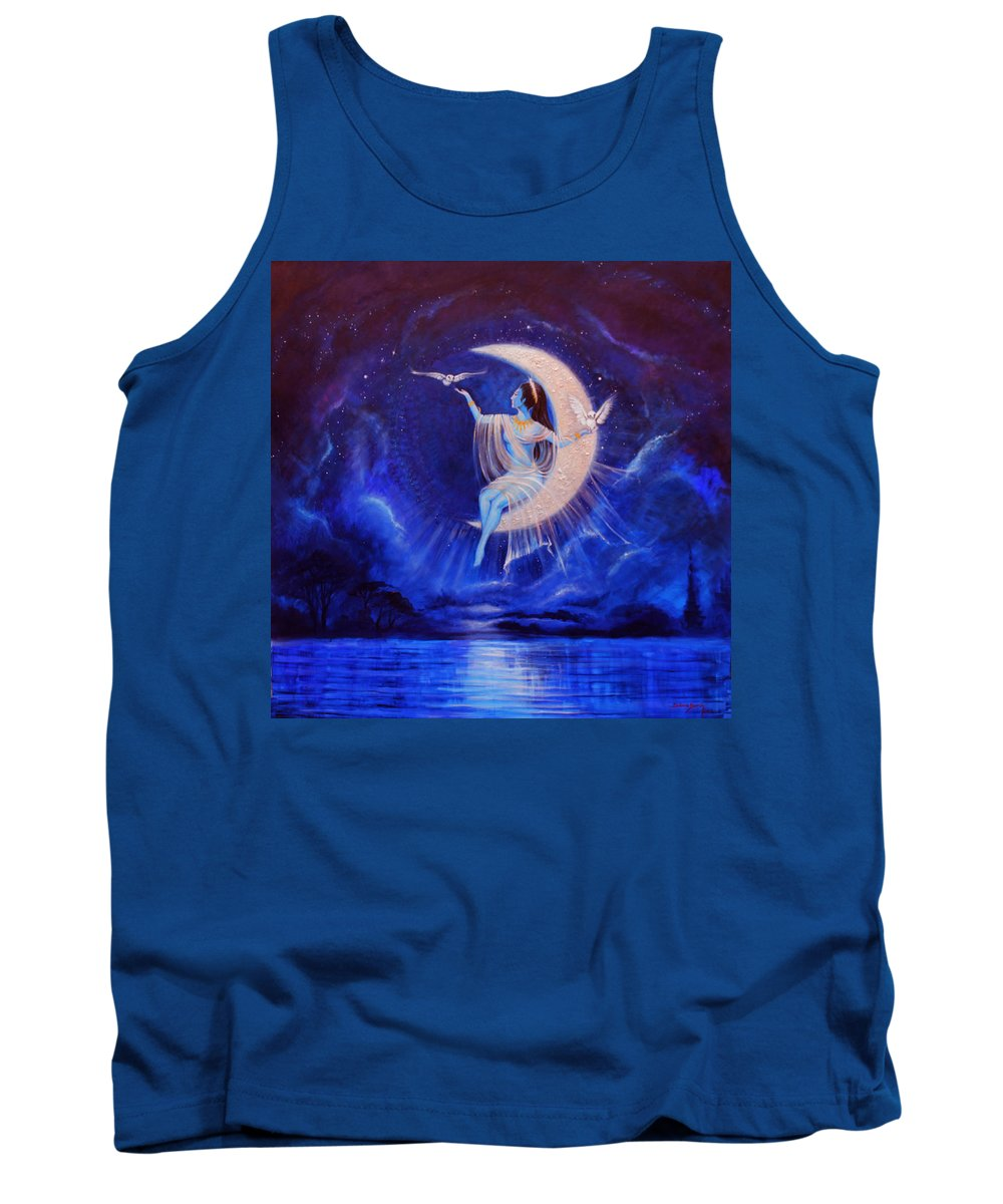 Tones Of Blue Permeate Everywhere... Thecrescent Moon Allows A Beautiful Being To Be Uplifted To The Wisdom And The Light... The Sea Beneath.... Shimes Tank Top featuring the painting Universal Wisdom by Silvia Duran