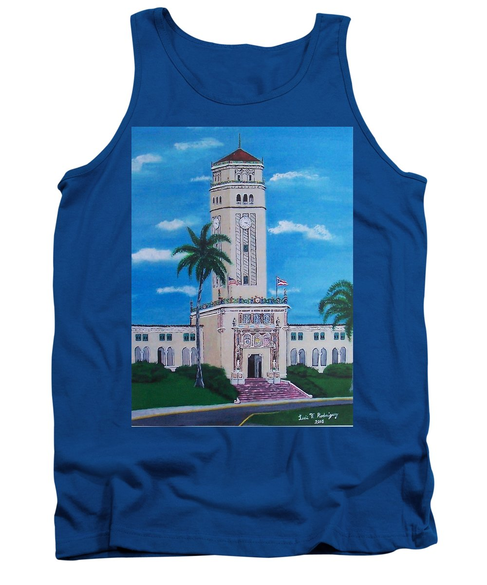 Rio Piedras Tank Top featuring the painting University Of Puerto Rico Tower by Luis F Rodriguez