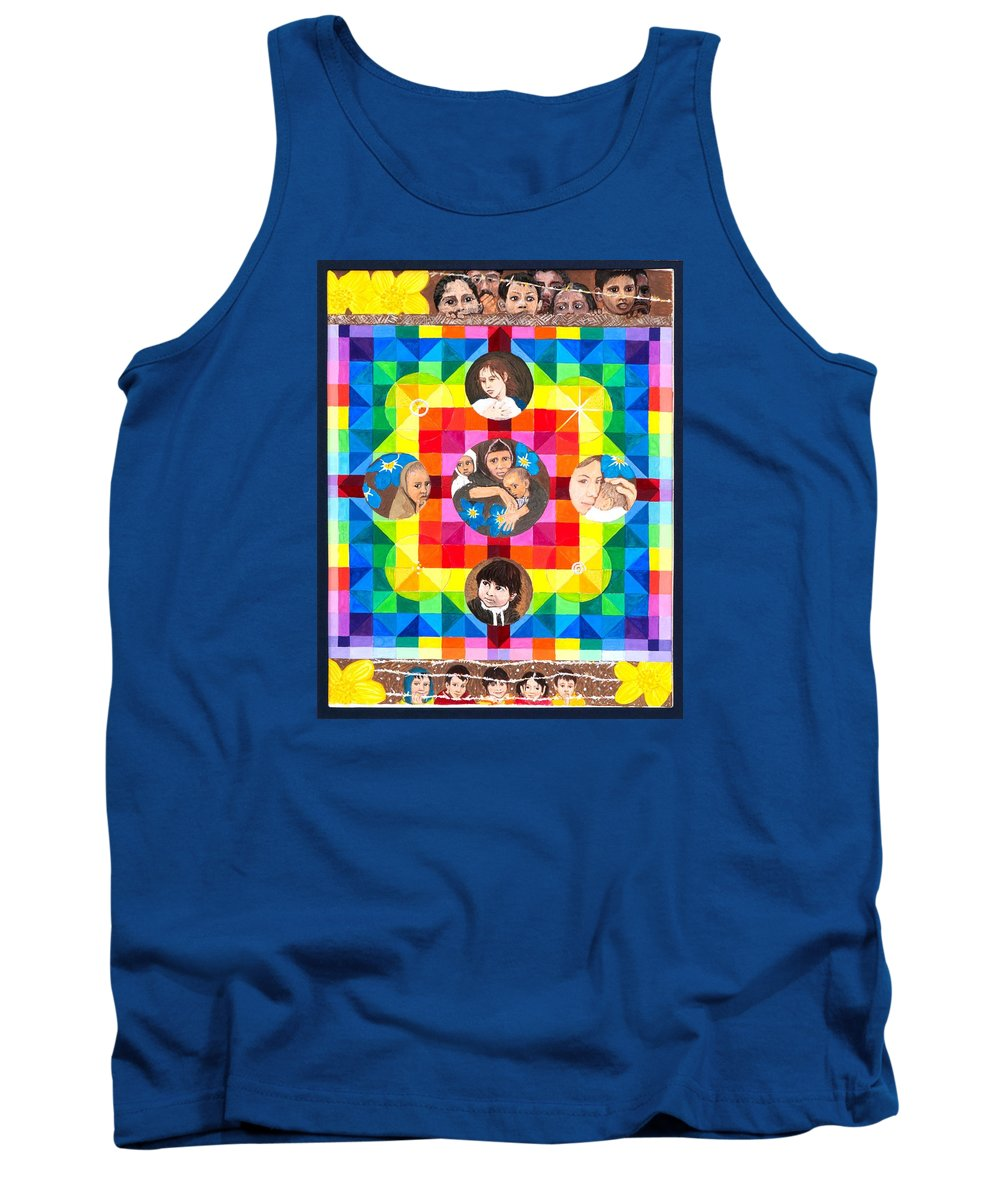 Rainbow Tank Top featuring the painting Veil Of Indifference by Sandy Thurlow