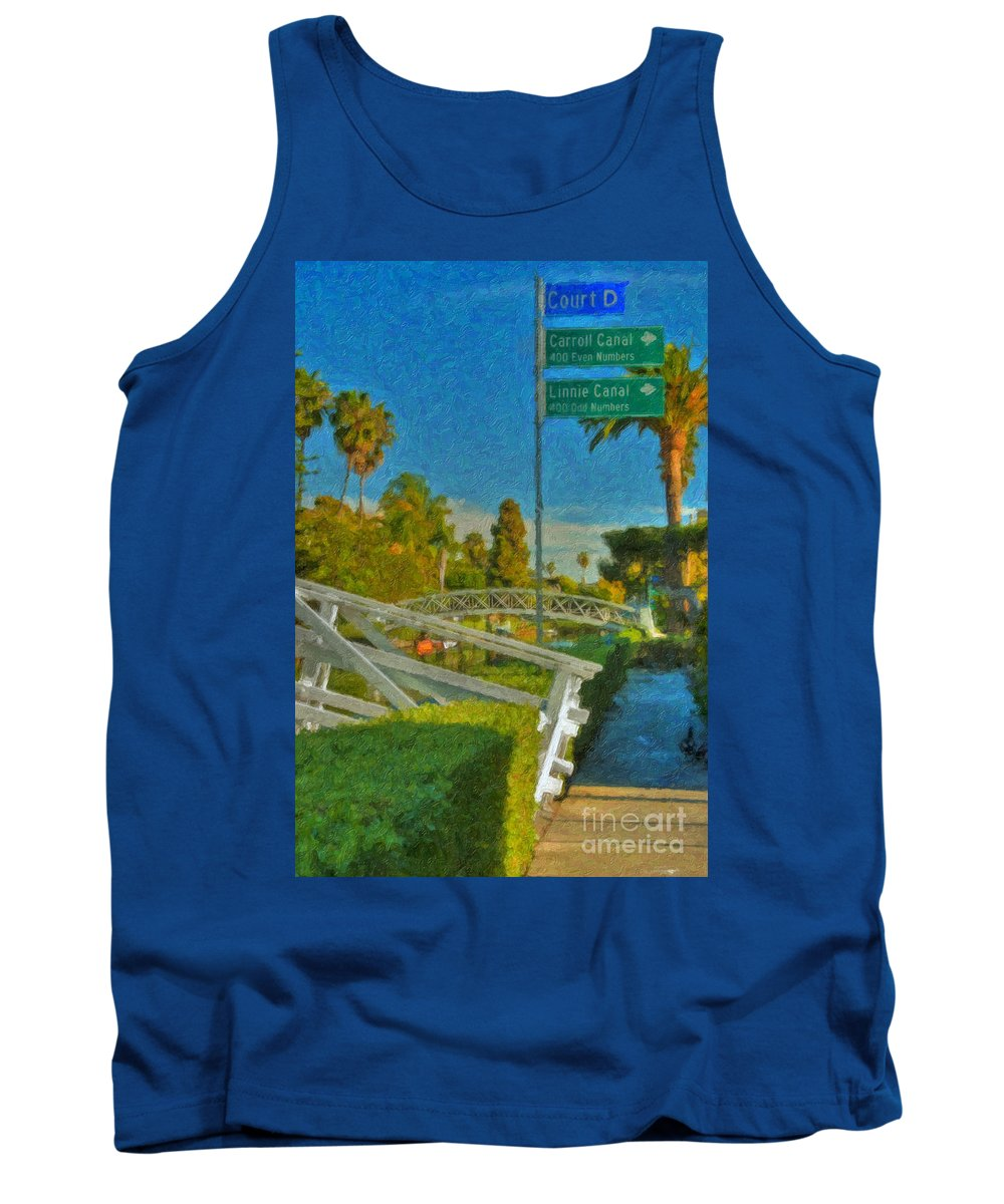 Venice Canal Bridge Signs Tank Top featuring the photograph Venice Canal Bridge Signs by David Zanzinger