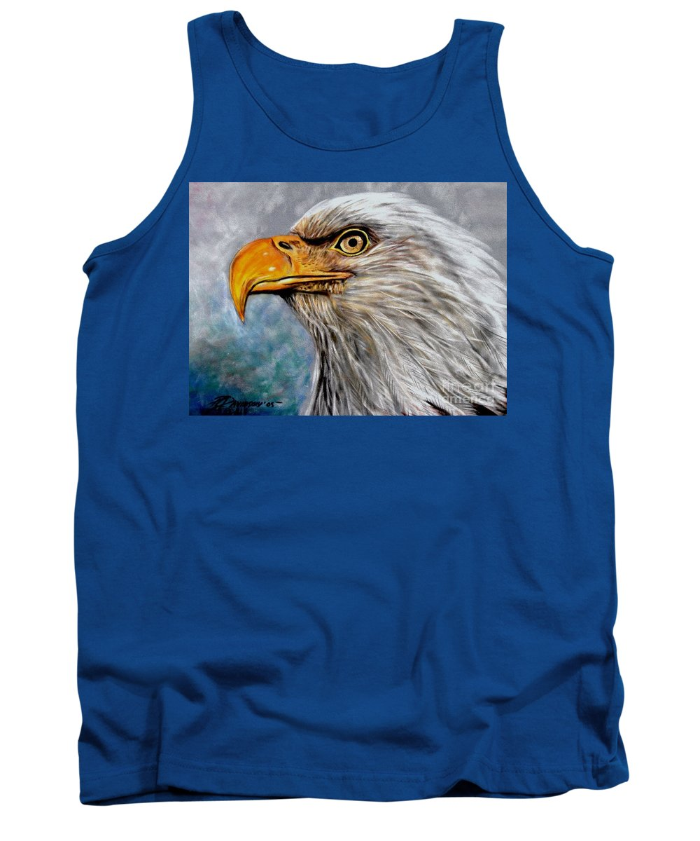 Eagle Tank Top featuring the painting Vigilant Eagle by Patricia L Davidson