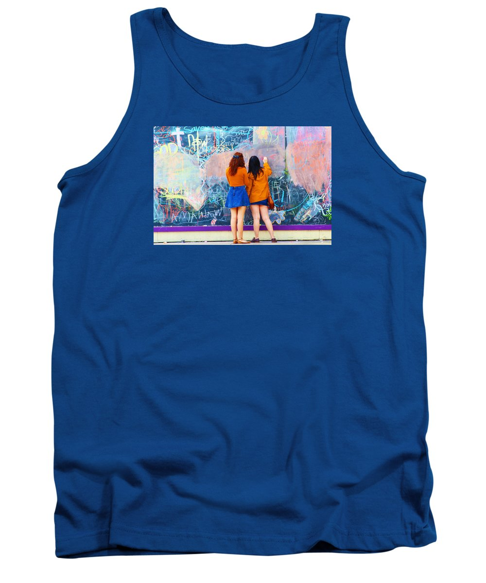 Writing On A Wall Tank Top featuring the photograph Wall Of Wishes by Christine Townsend