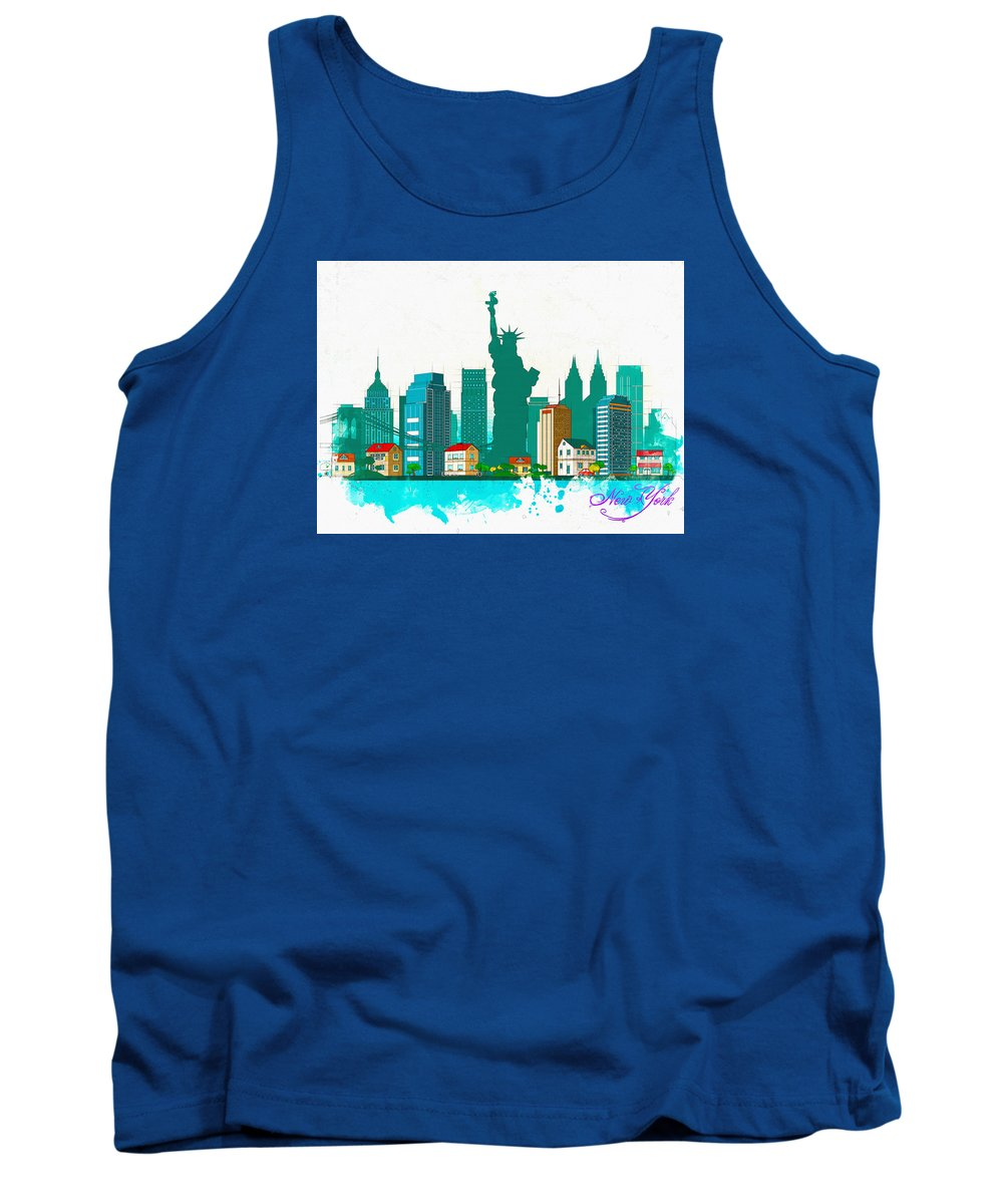Poster Tank Top featuring the digital art Watercolor Illustration Of New York by Don Kuing