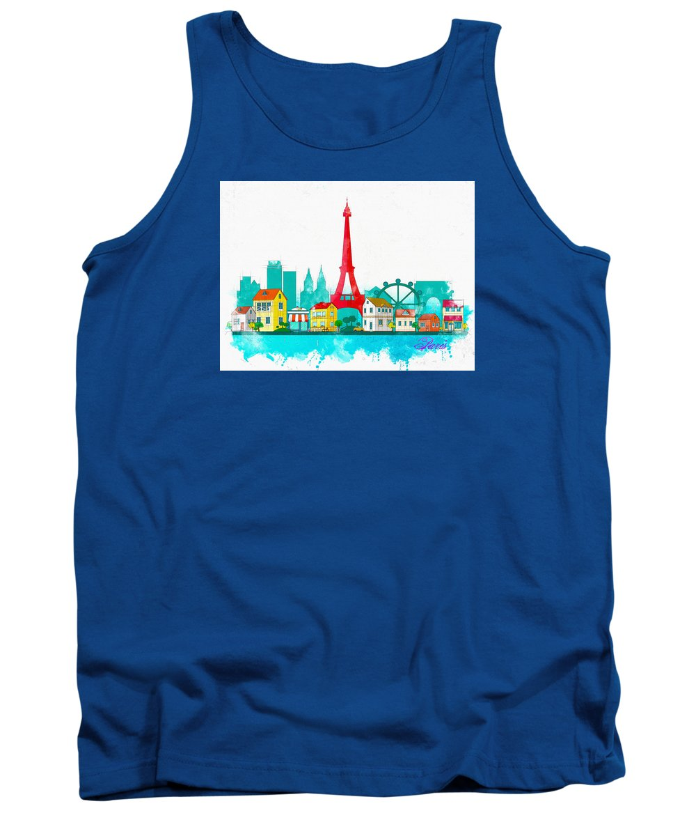 Poster Tank Top featuring the digital art Watercolor Illustration Of Paris by Don Kuing