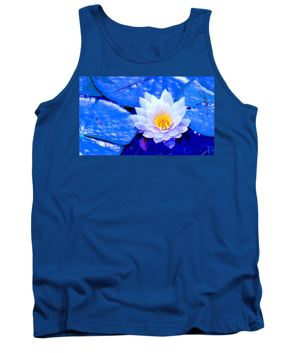 Waterlilly Tank Top featuring the photograph Blue Water Lily by Ian MacDonald