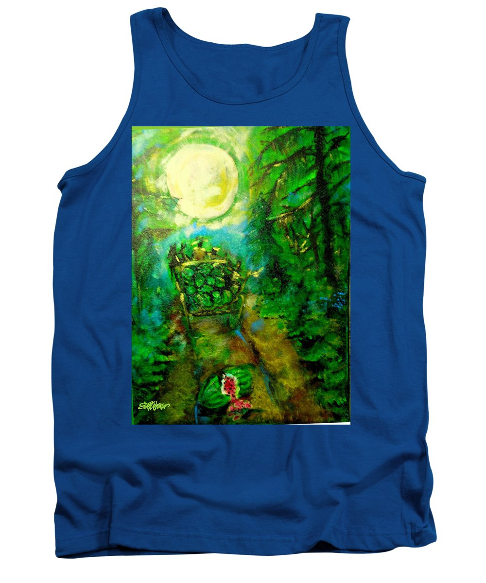 Watermelon Wagon Moon Tank Top featuring the painting Watermelon Wagon Moon by Seth Weaver