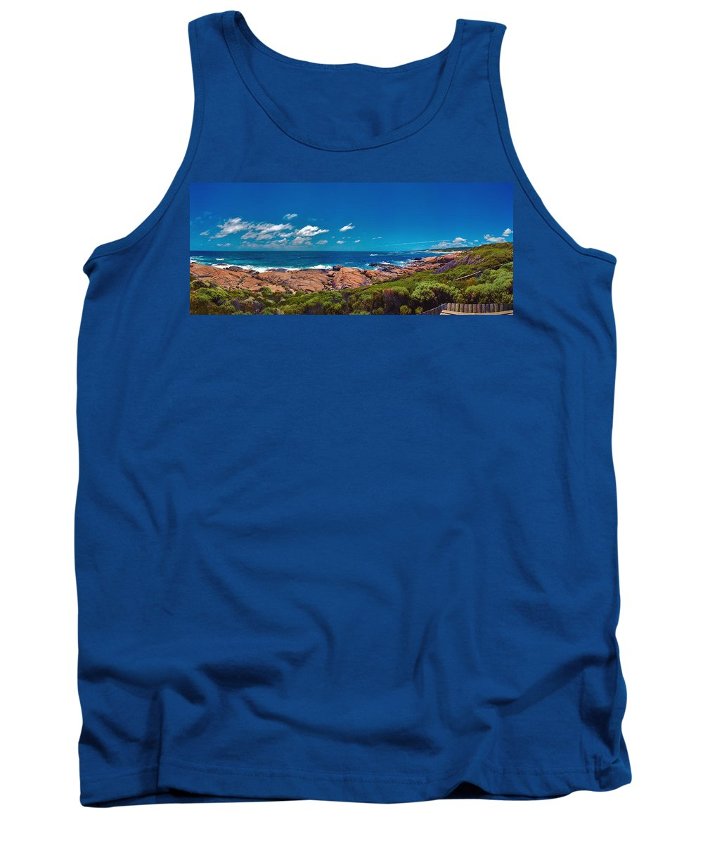 Busselton Jetty; Western Australia; Beach Panorama; Margaret River; Southern Hemisphere; Waterfront; Tank Top featuring the photograph Western Australia Beach Panorama Margaret River by David Zanzinger