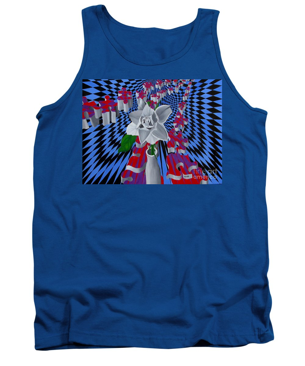 Abstract Tank Top featuring the painting White Rose by Richard Dotson