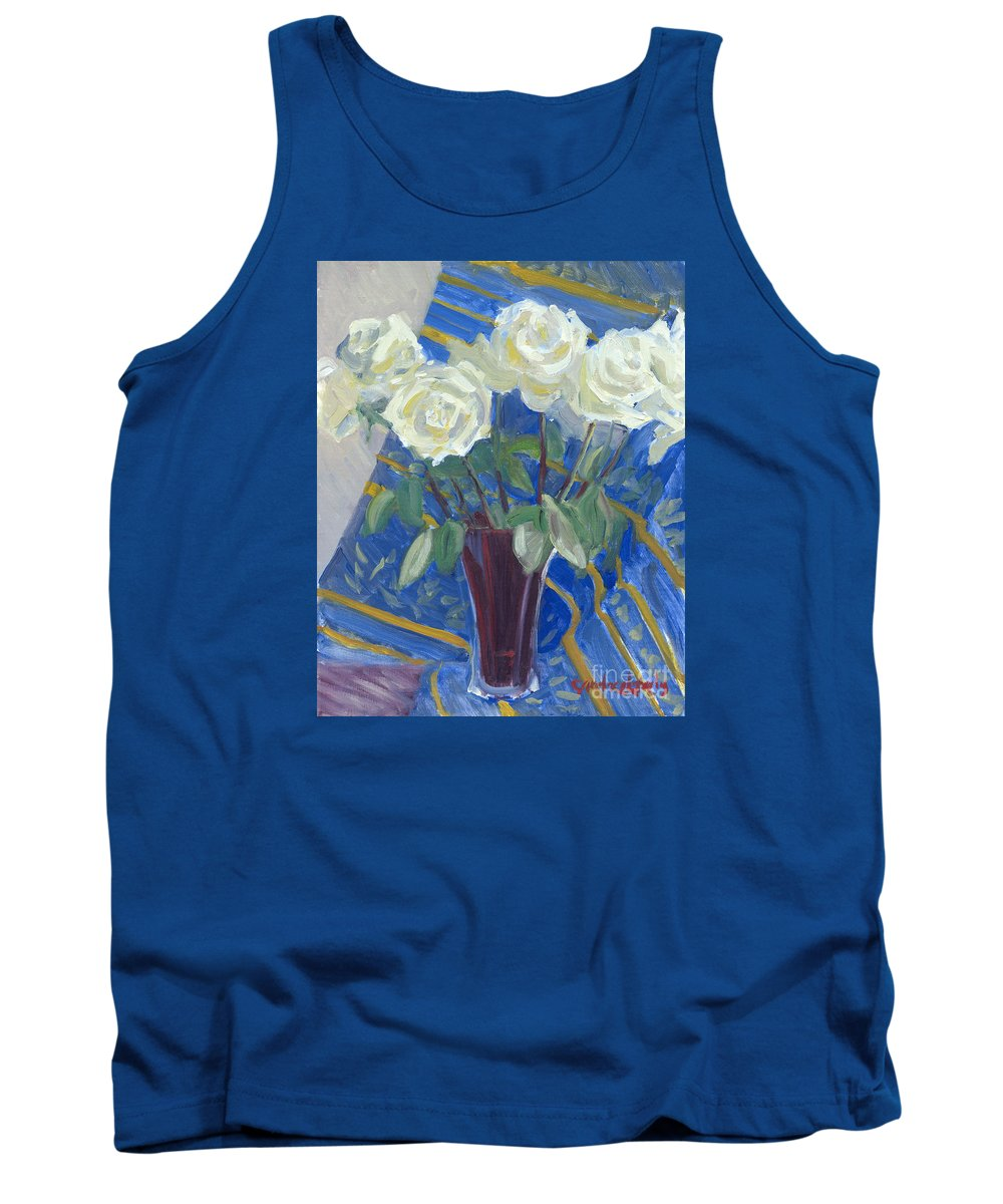White Roses Tank Top featuring the painting White Roses With Red And Blue by Candace Lovely